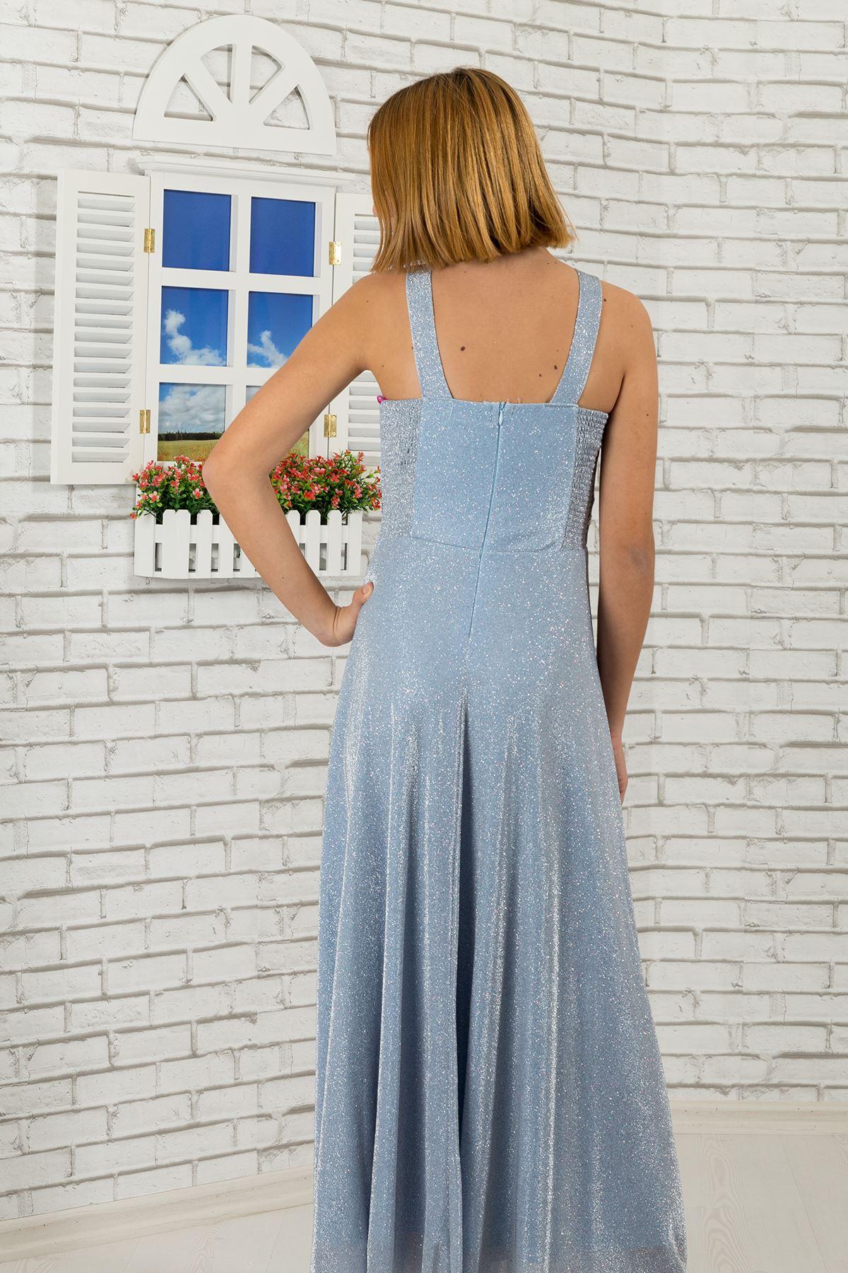 Pas a krk kámen detailní, stříbřité tkaniny dívka děti večerní šaty 469 Bebe Modrá