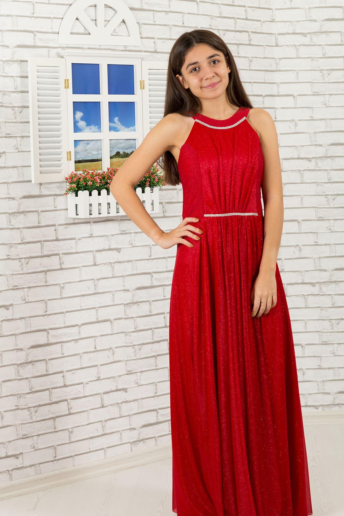 Bel ve boyun detaylı, simli şifon Kız Çocuk Abiye Elbise 472 Kırmızı