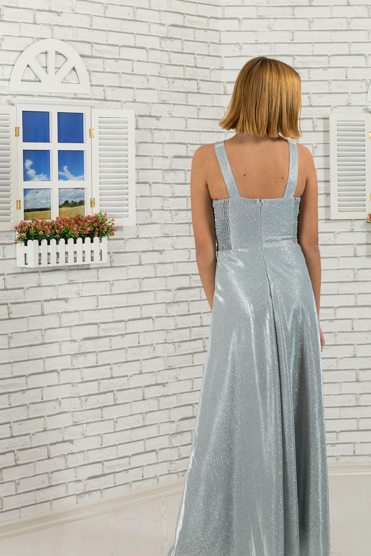 Талия и шея камень подробно, серебристая ткань Девочка Мальчик вечернее платье 480 серый