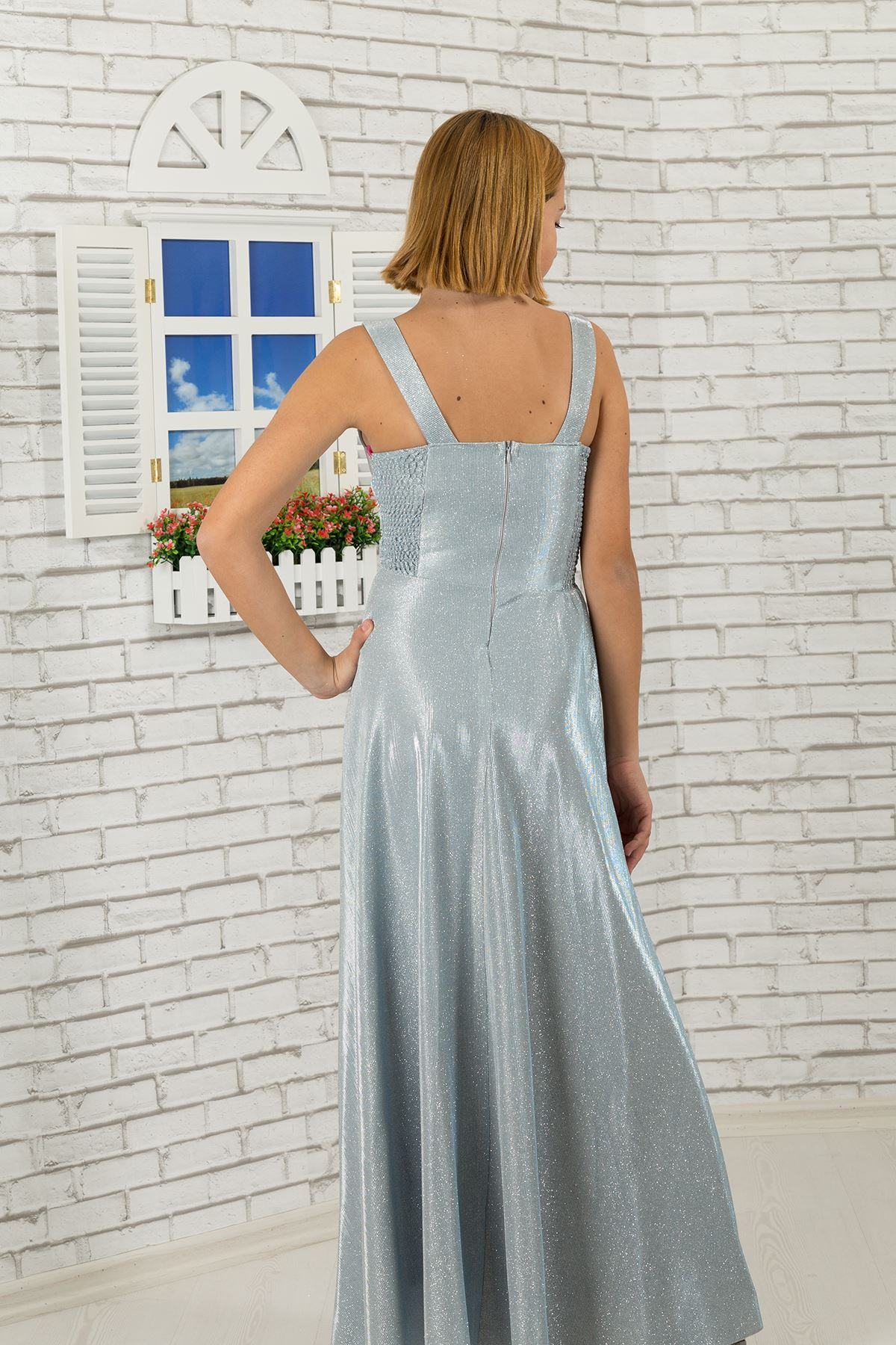 Μέση λεπτομερής, ασημένιο βραδινό φόρεμα 479 παιδιών κοριτσιών υφάσματος γκρίζο