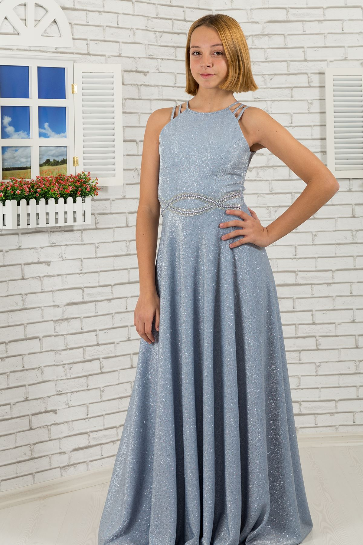 Waist print stone, shoulder detail, custom silvery fabric girl children evening dress 511 Baby Blue