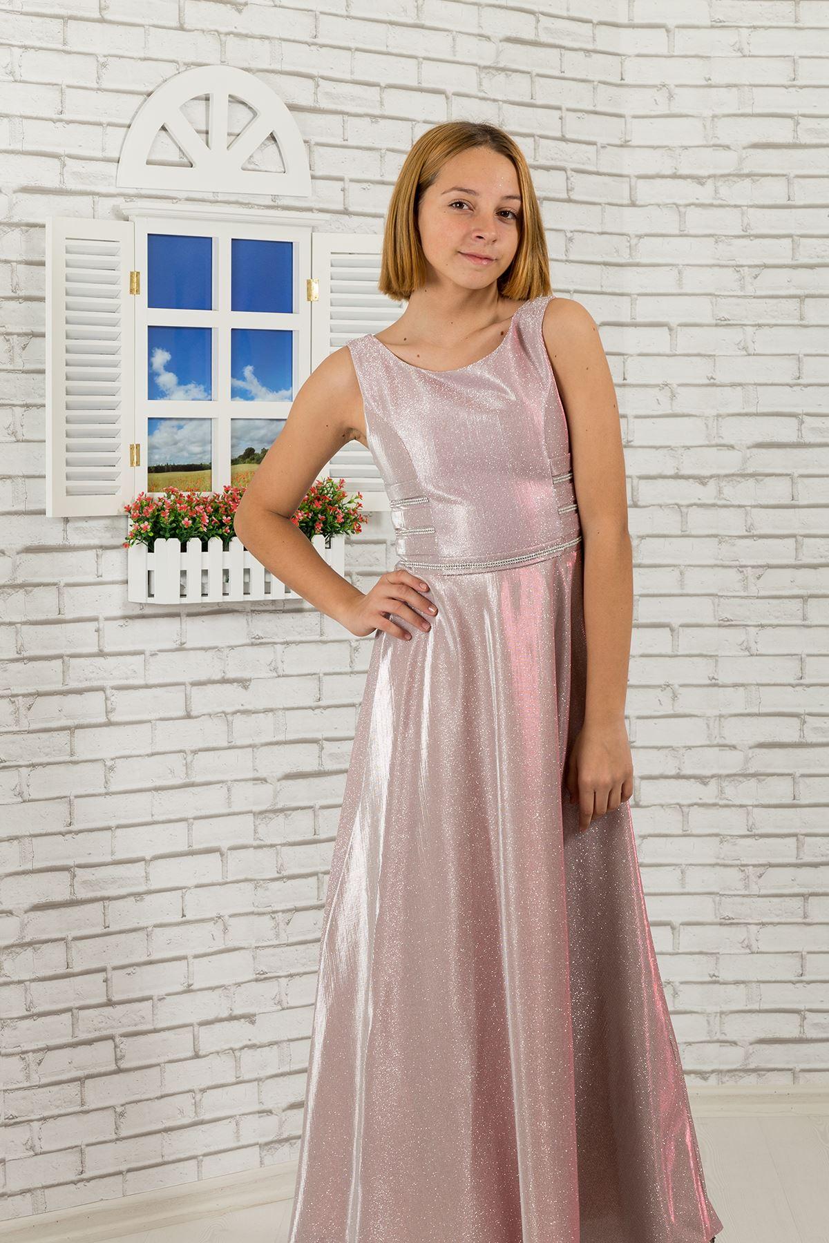 Μέση λεπτομερής, αργυροειδές φόρεμα 479 βραδινών παιδιών κοριτσιών υφάσματος σκόνη