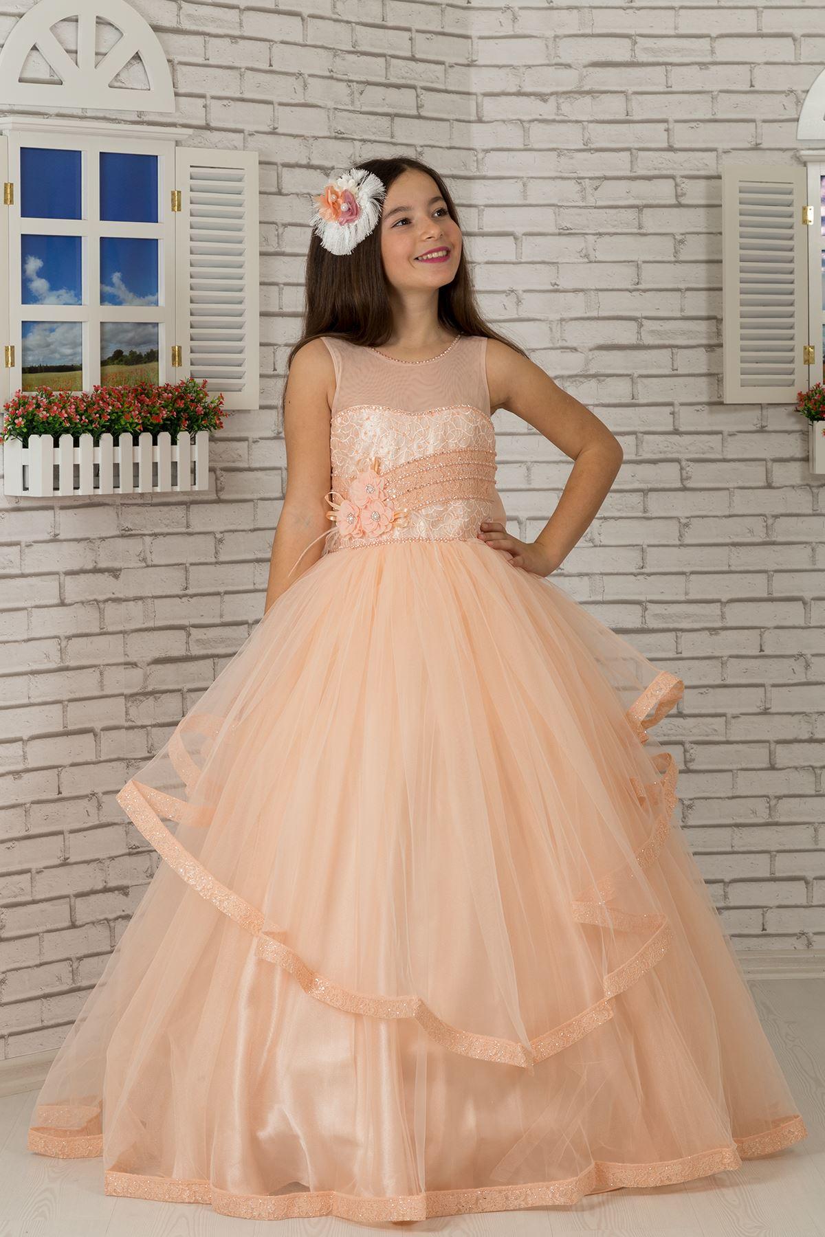 Body Detailed, Tulle Fluffy Girl's Evening Dress 602 Salmon