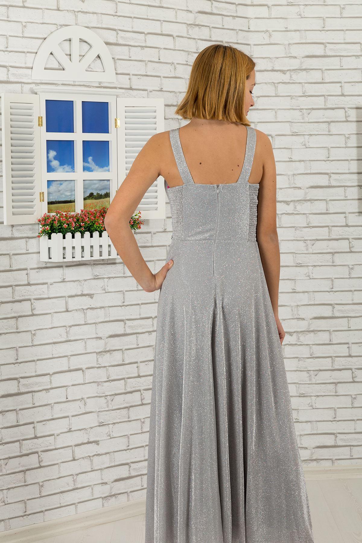 Taille und Hals Stein detailliert, silbrig Stoff Mädchen Kinder Abendkleid 469 Grau
