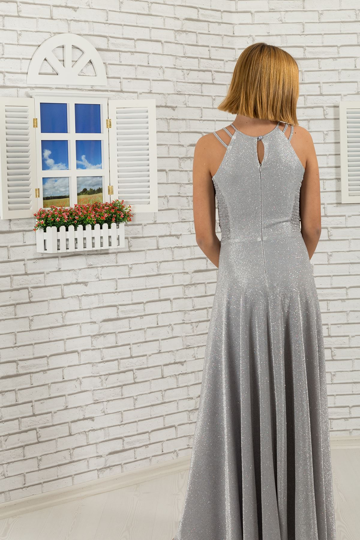 Талия печат скалист, рамото подробно, потребителски сребрист Плат момиче бебе вечерна рокля 511 сив