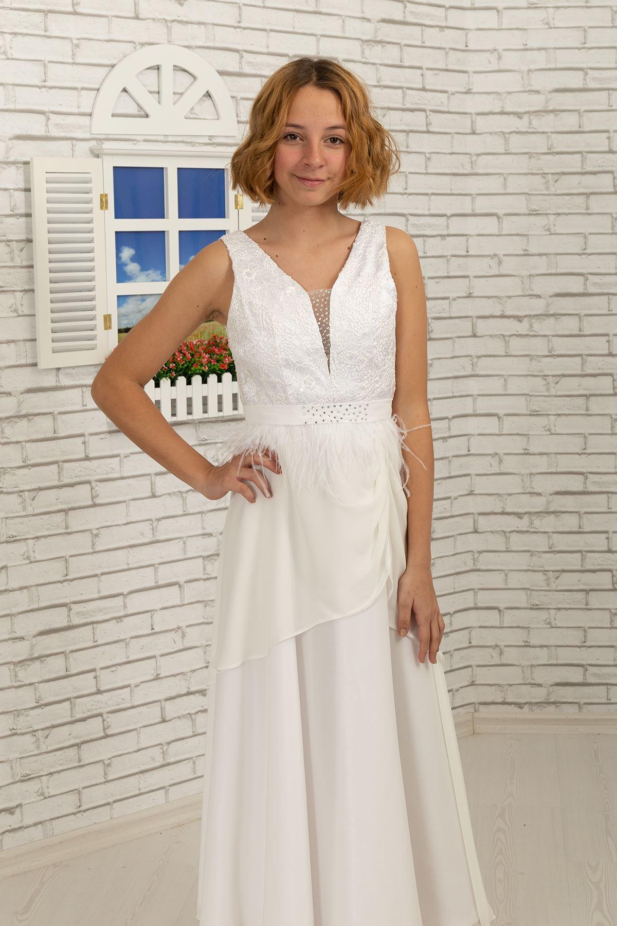 Body lace coated, skirt detailed chiffon girl children evening dress 494 cream