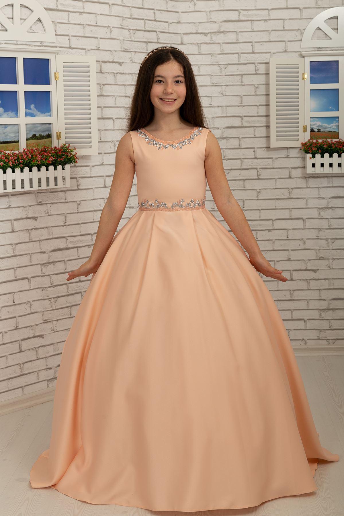 腰と首の詳細、サテンふわふわ女の子のイブニングドレス631サーモン