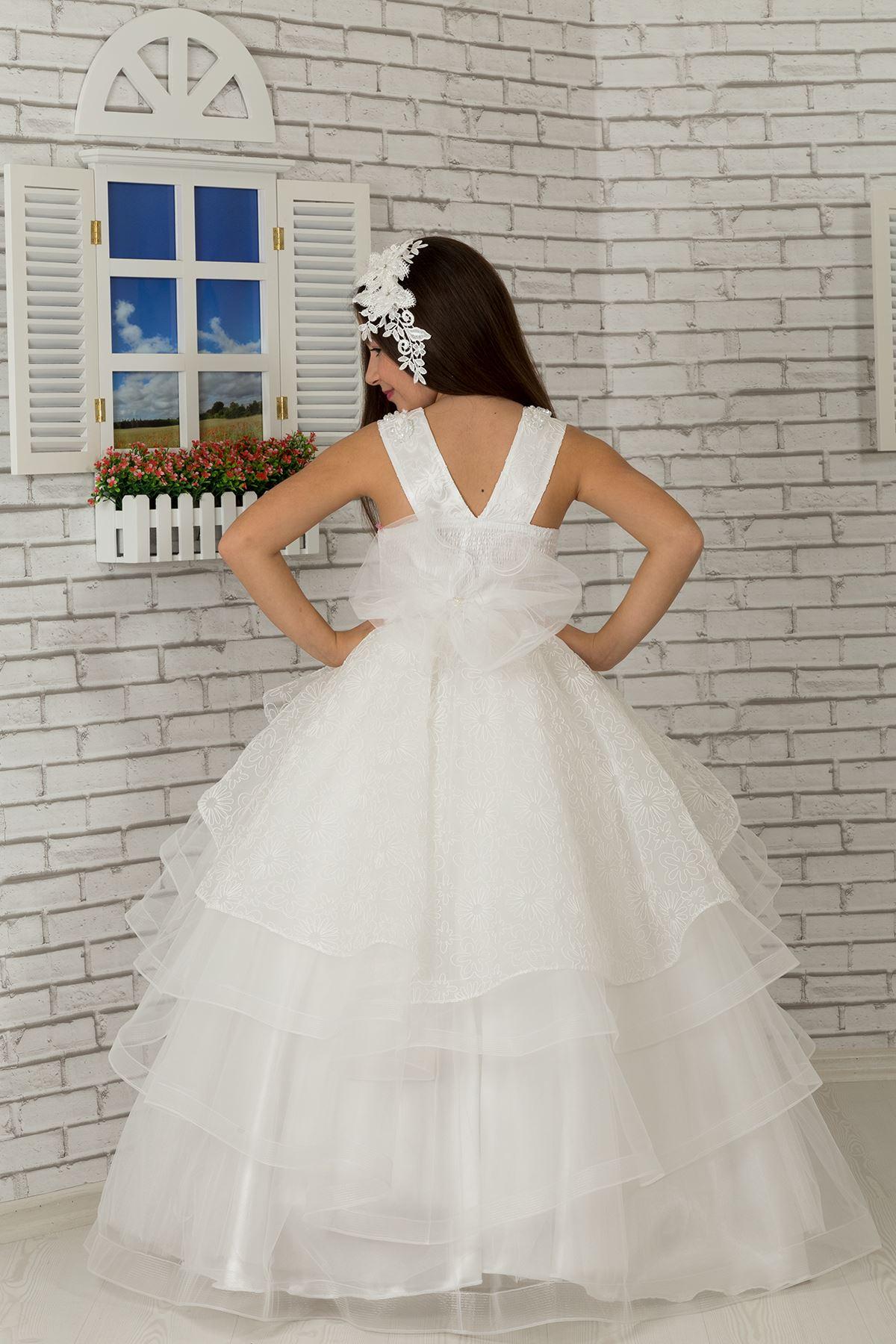 Тяло бродирано, талия подробно пухкаво момиче деца вечерна рокля 626 крем