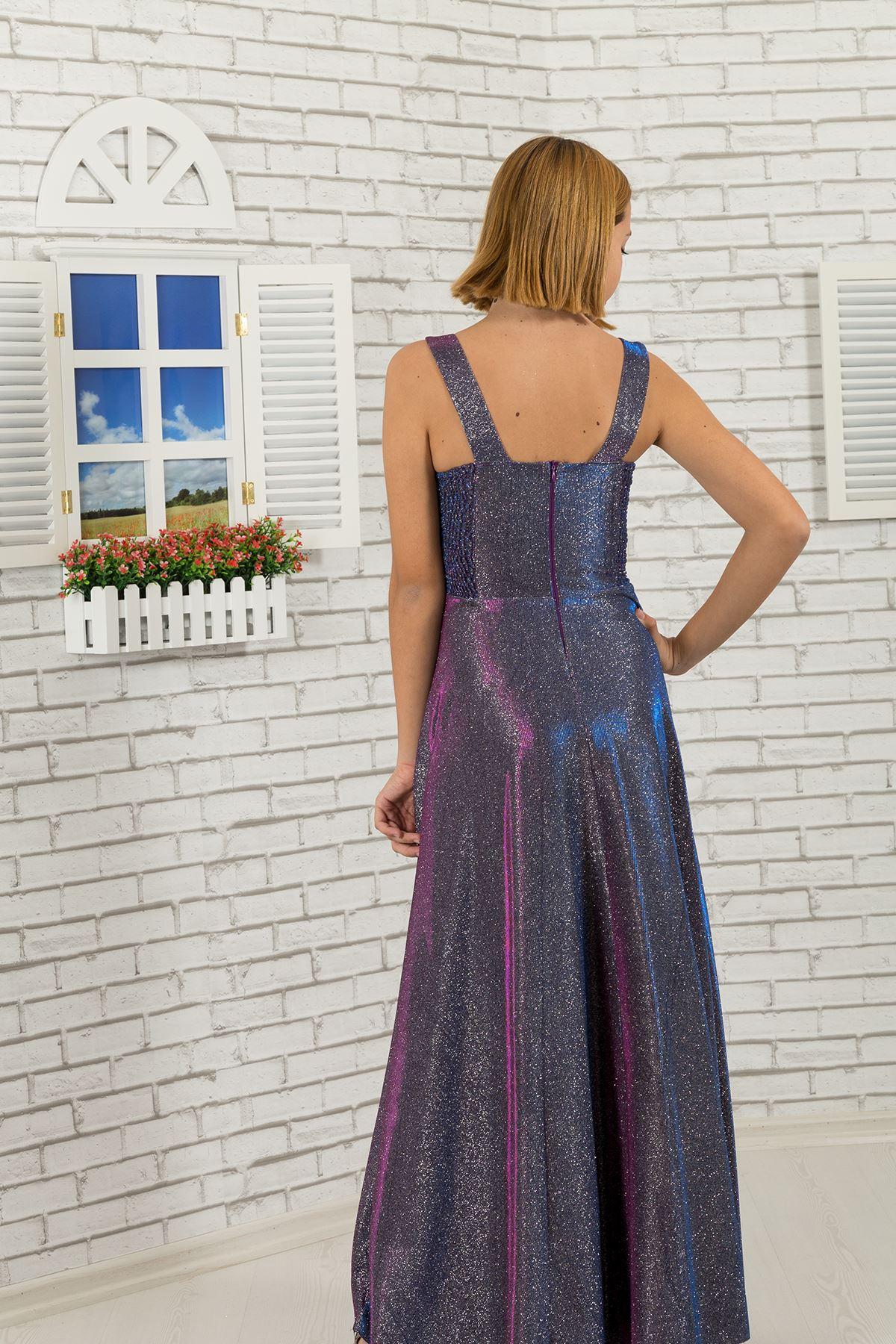 Талія докладно, срібляста тканина для дівчаток вечірня сукня 479 фіолетовий