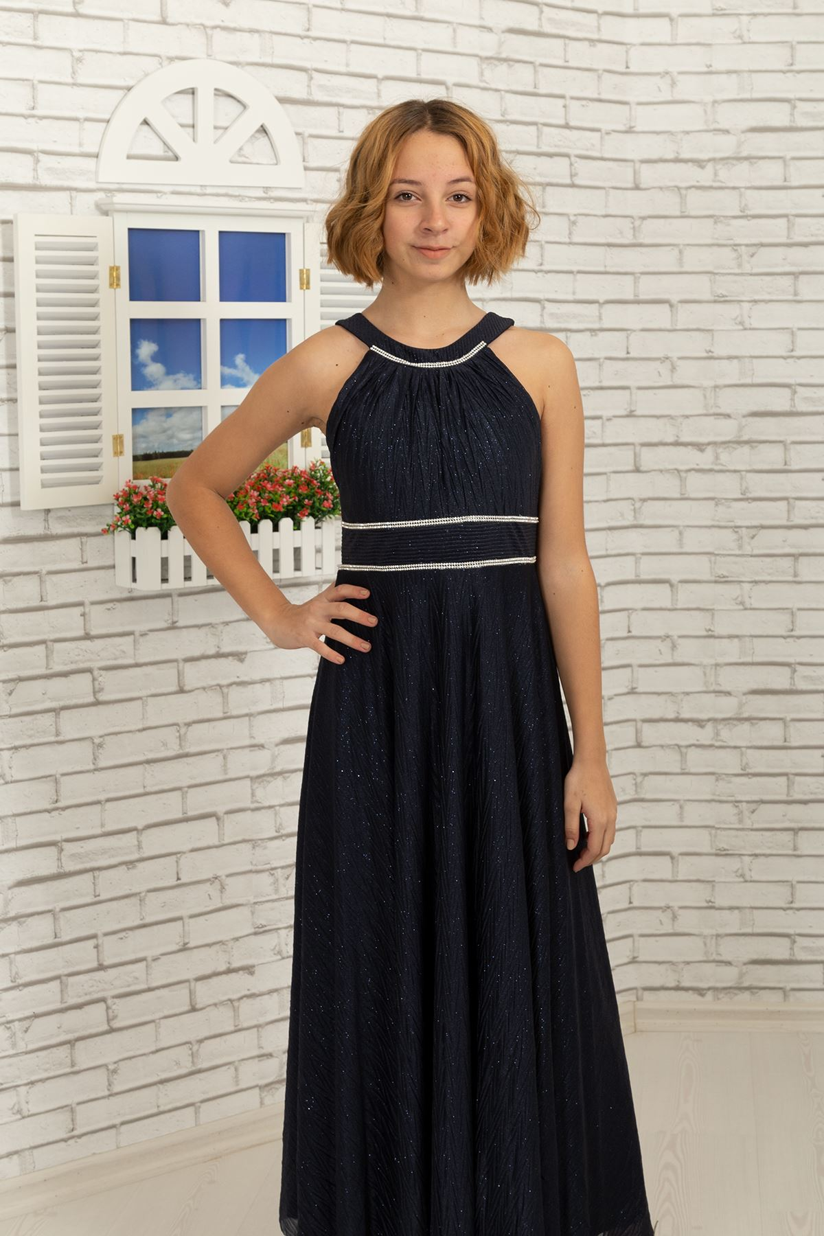 Талия и шея камень подробно, зигзаг серебристый шифон для девочек вечернее платье 468 темно-синий