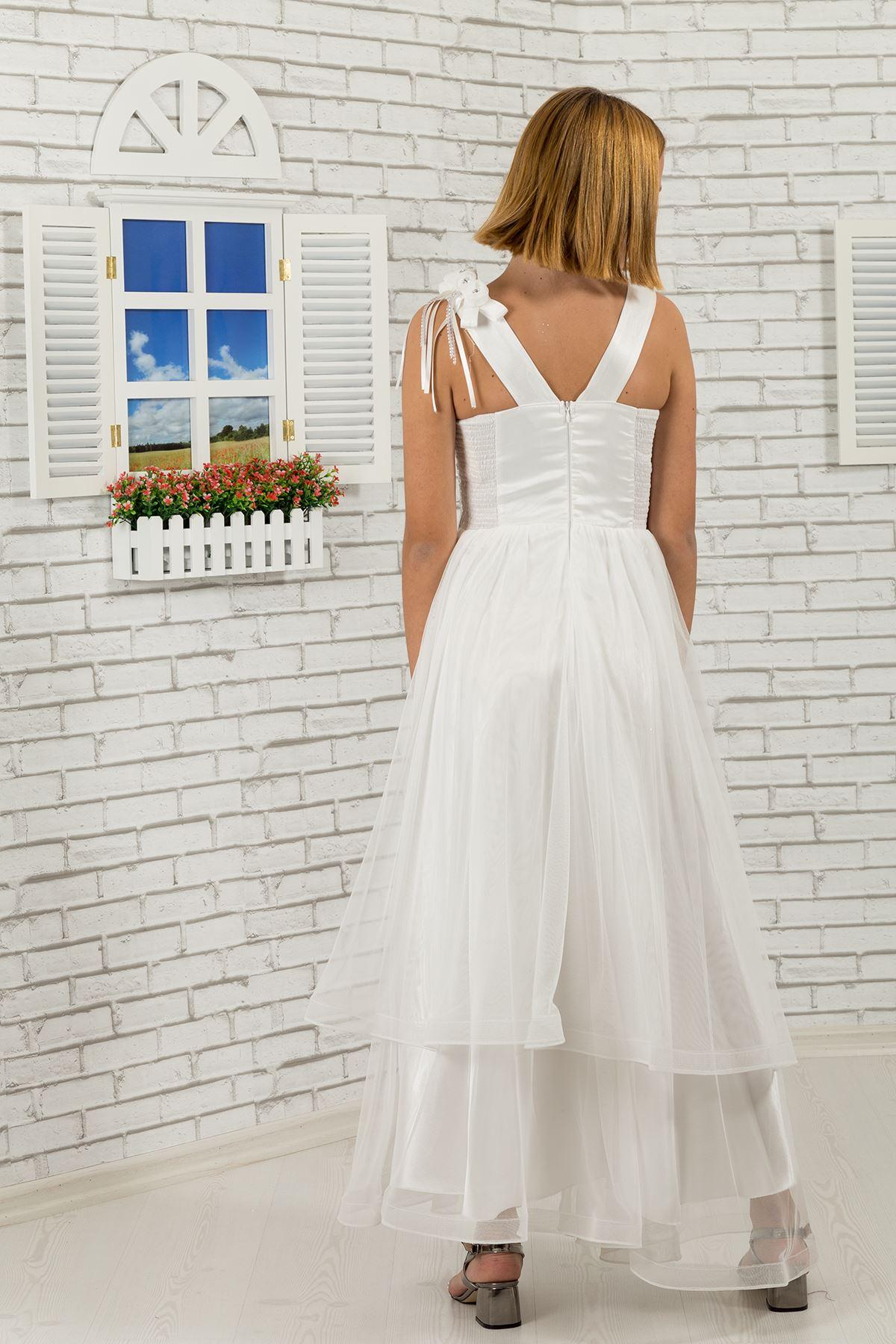 ボディスパンコール、肩と腰の花詳細な、床層チュールの女の子の子供のイブニングドレス465クリーム