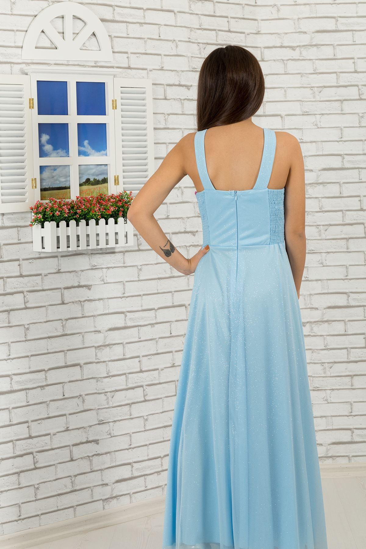 Pas a krk detailní, stříbřité šifon dívka děti večerní šaty 472 baby blue
