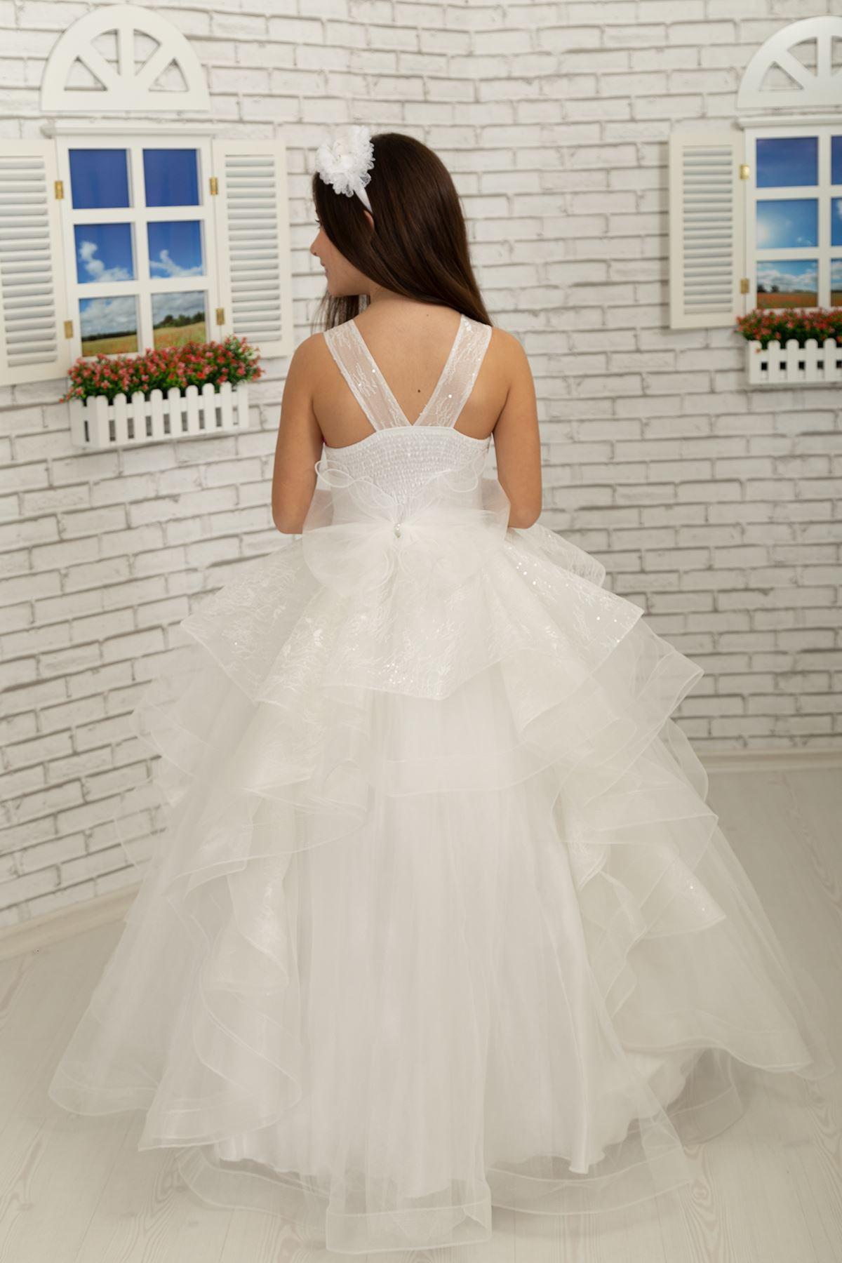 3D пользовательские серебристые кружева пушистые вечерние платья девушки 629 крем
