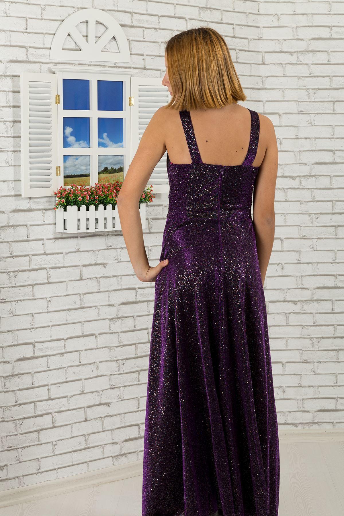 ウエストと首の石詳細な、銀色の生地の女の子の子供のイブニングドレス469紫