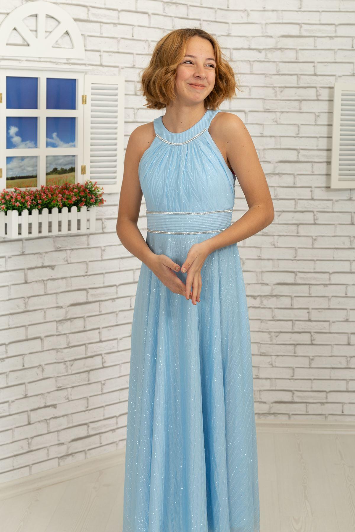 Taille et cou Pierre détaillée, zigzag argenté en mousseline de soie Fille Enfants Robe de soirée 468 Bébé Bleu