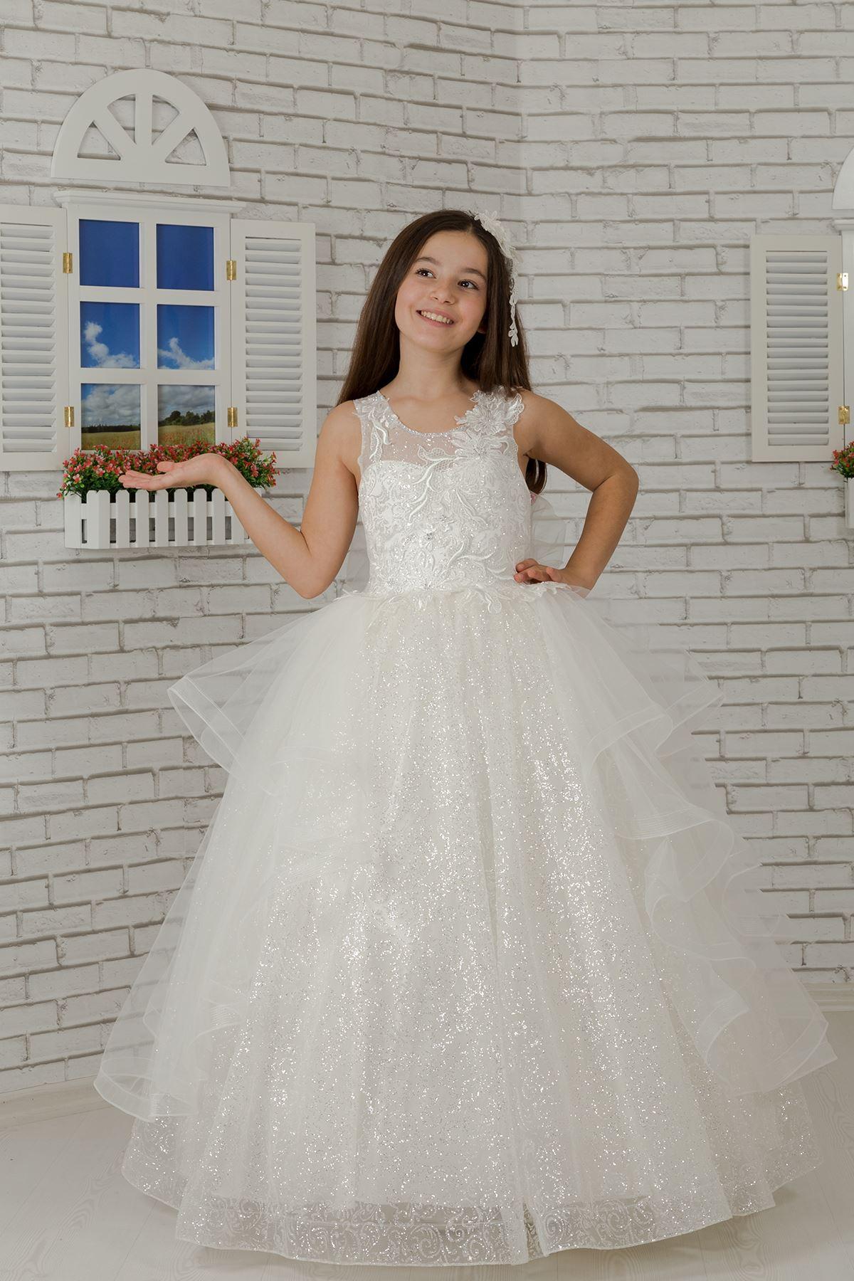 Бра, специальный серебристый тюль, детское вечернее платье с пышной юбкой для девочек 624 кремового цвета