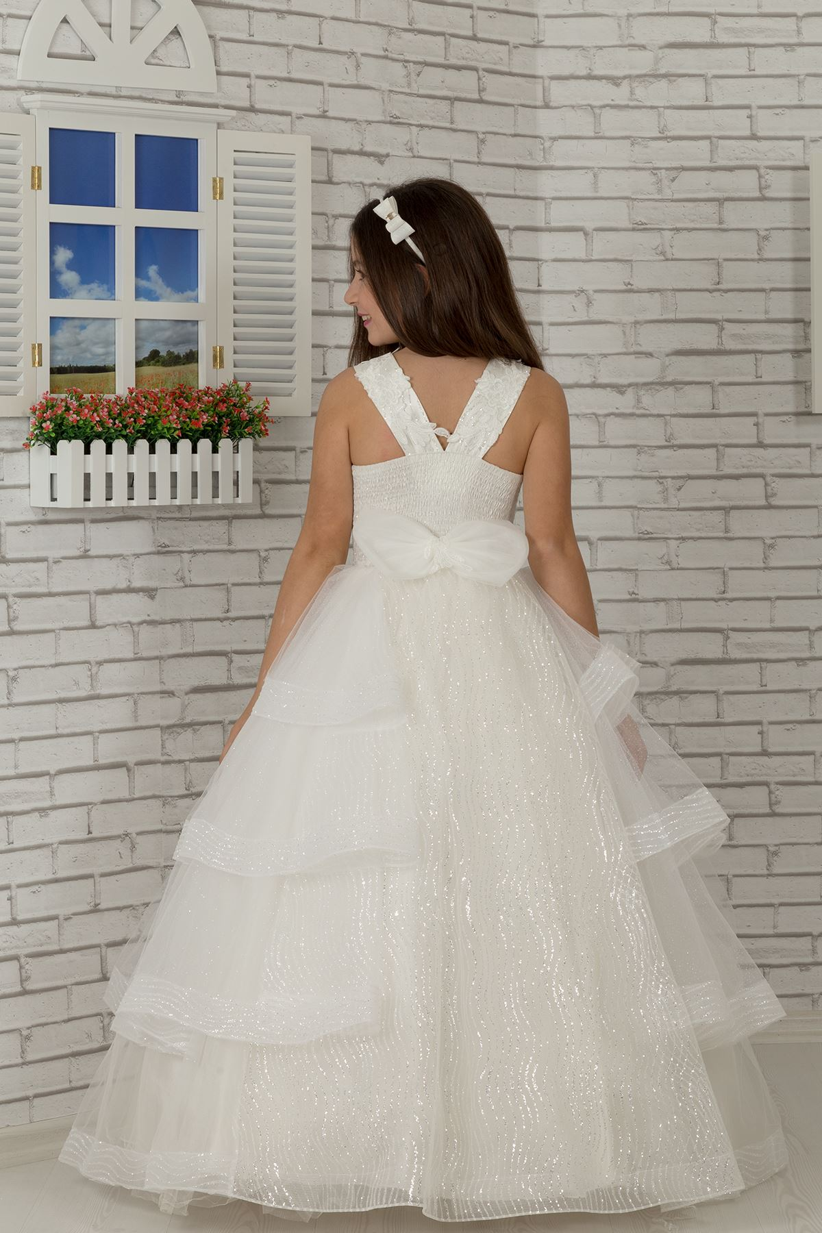 Тело вышито, пальто юбка подробно, специальный серебристый тюль пушистый девочка дети вечернее платье 625 крем