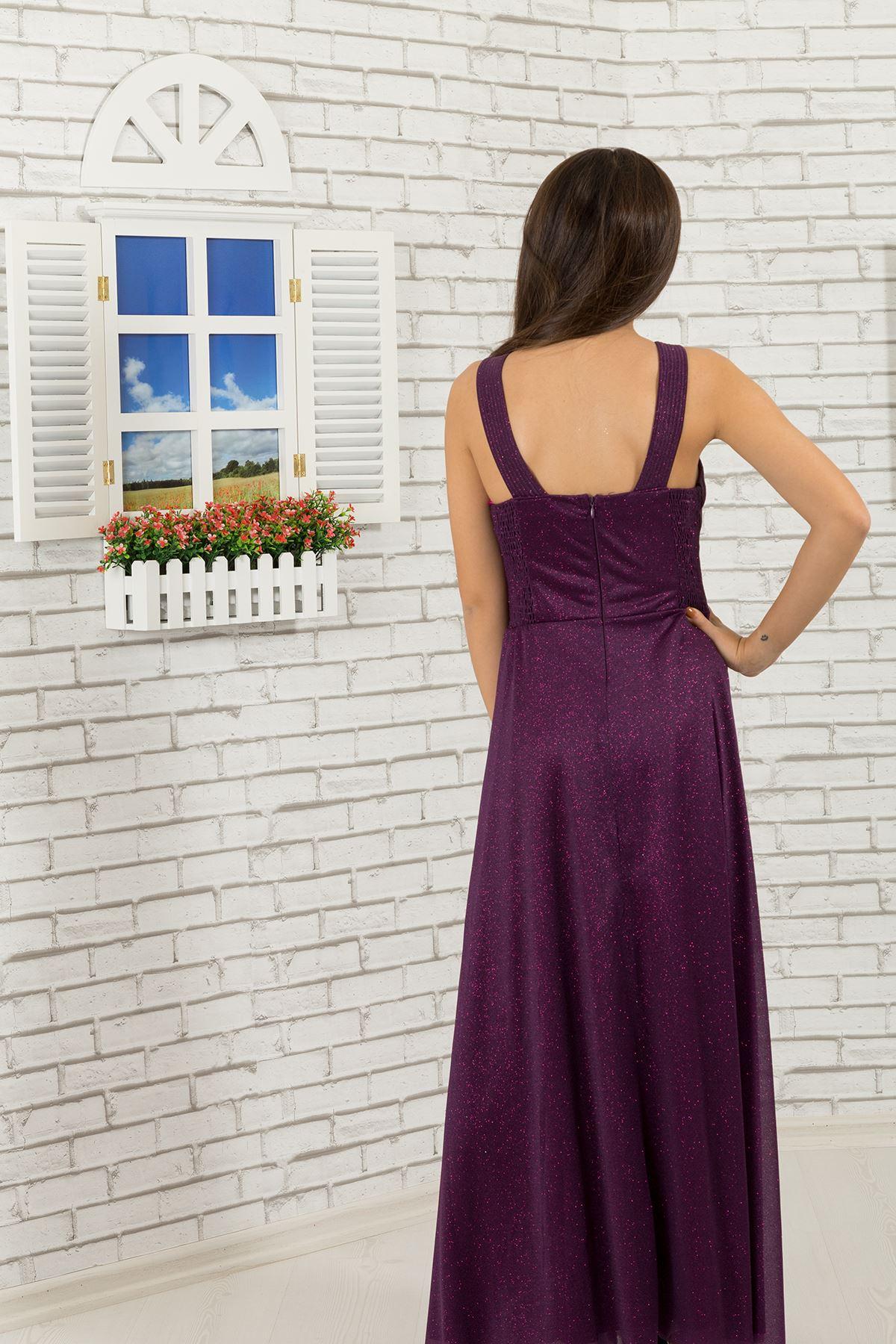 Bel ve boyun detaylı, simli şifon Kız Çocuk Abiye Elbise 472 Mor