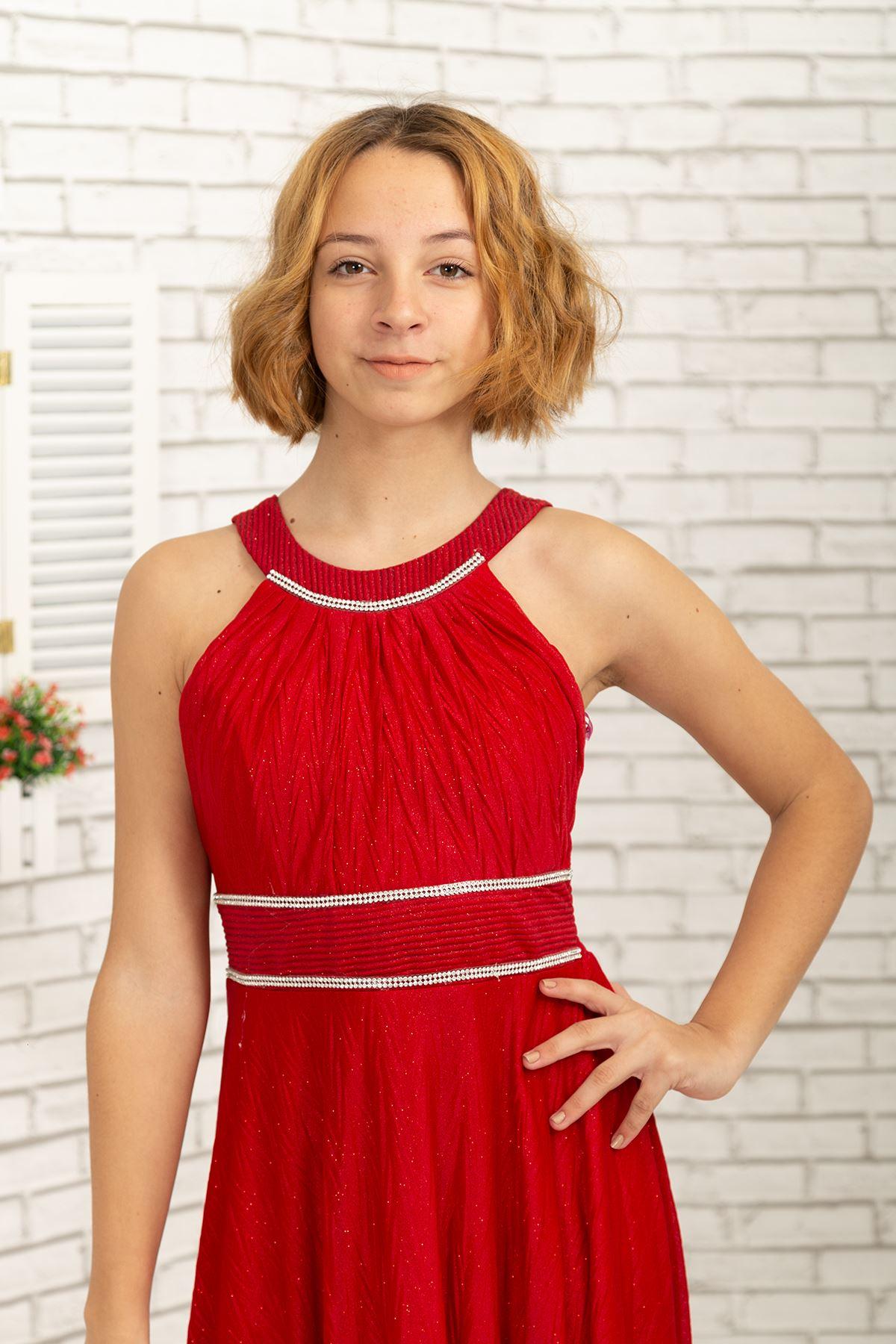 ウエストとネック石詳細、ジグザグ銀色シフォン女の子のイブニングドレス468赤