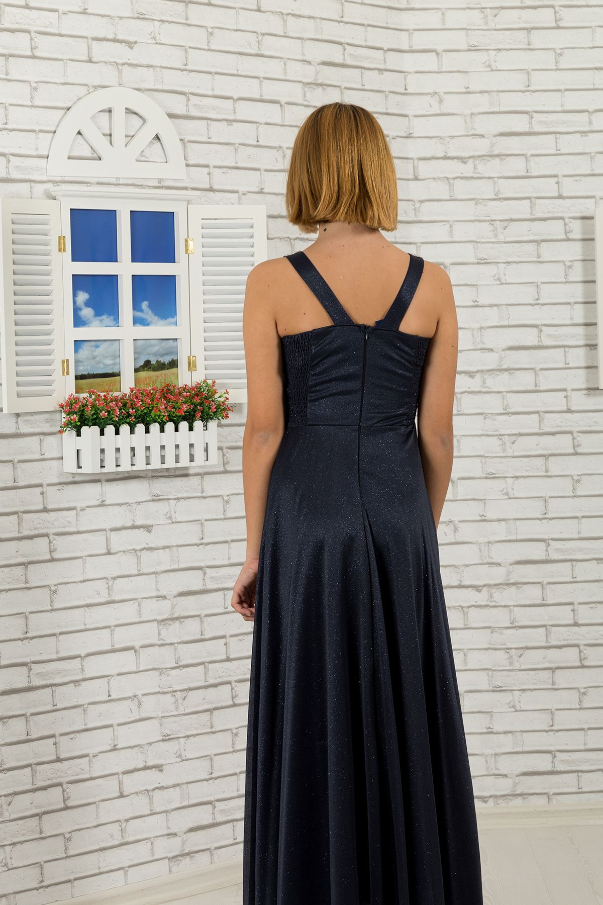 Waist stone, collar detail, silvery chiffon Girl Boy evening dress 473 Navy Blue