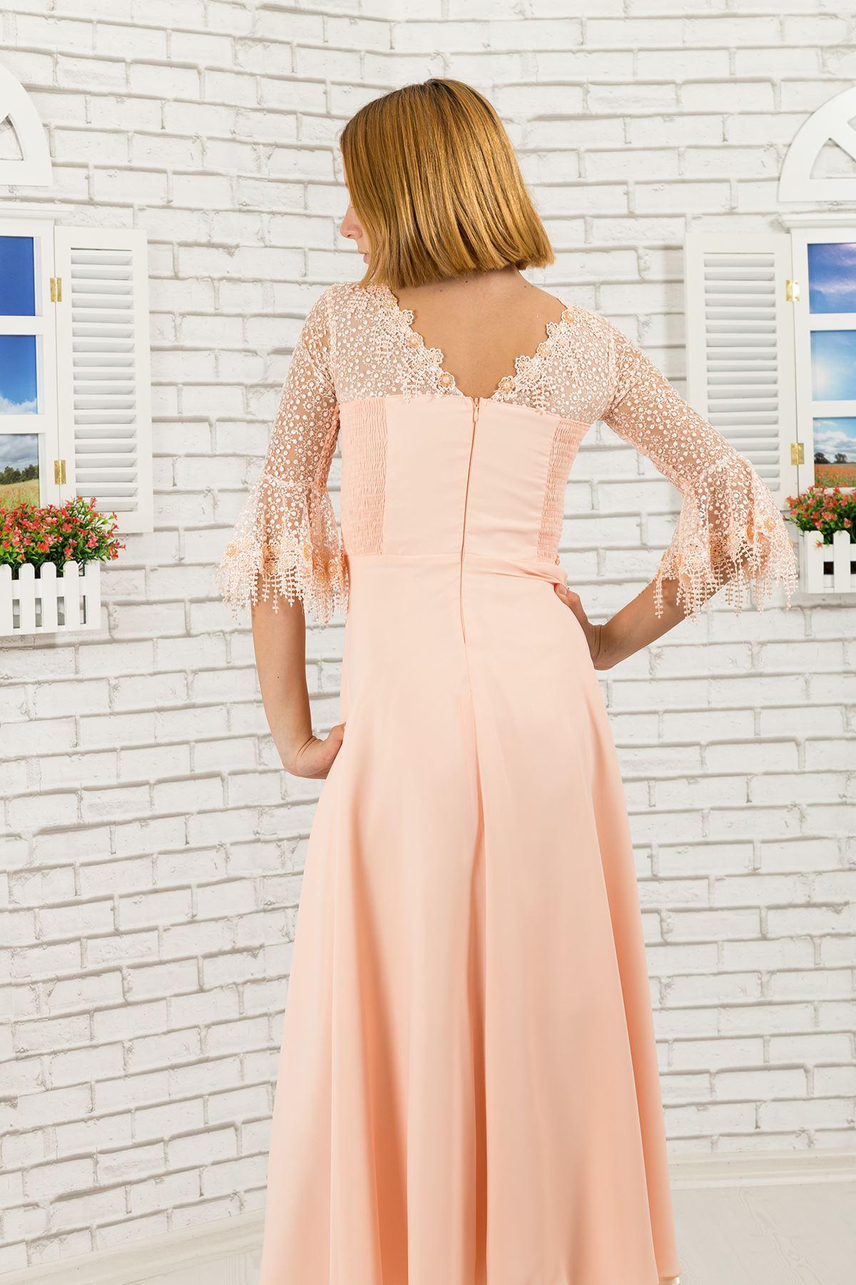 تفاصيل من الدانتيل ، فستان سهرة شيفون للبنات 464 لون سلمون