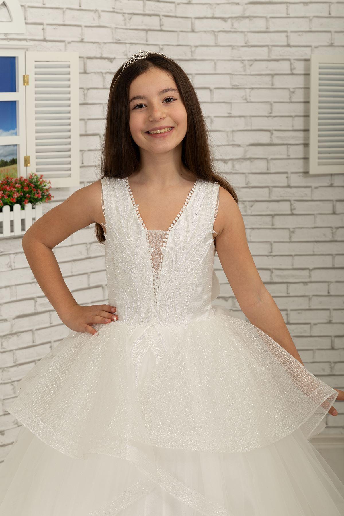 Bestickte Applikation, Rock applique detail, Tüll Flauschige Mädchen Abendkleid 623 Creme