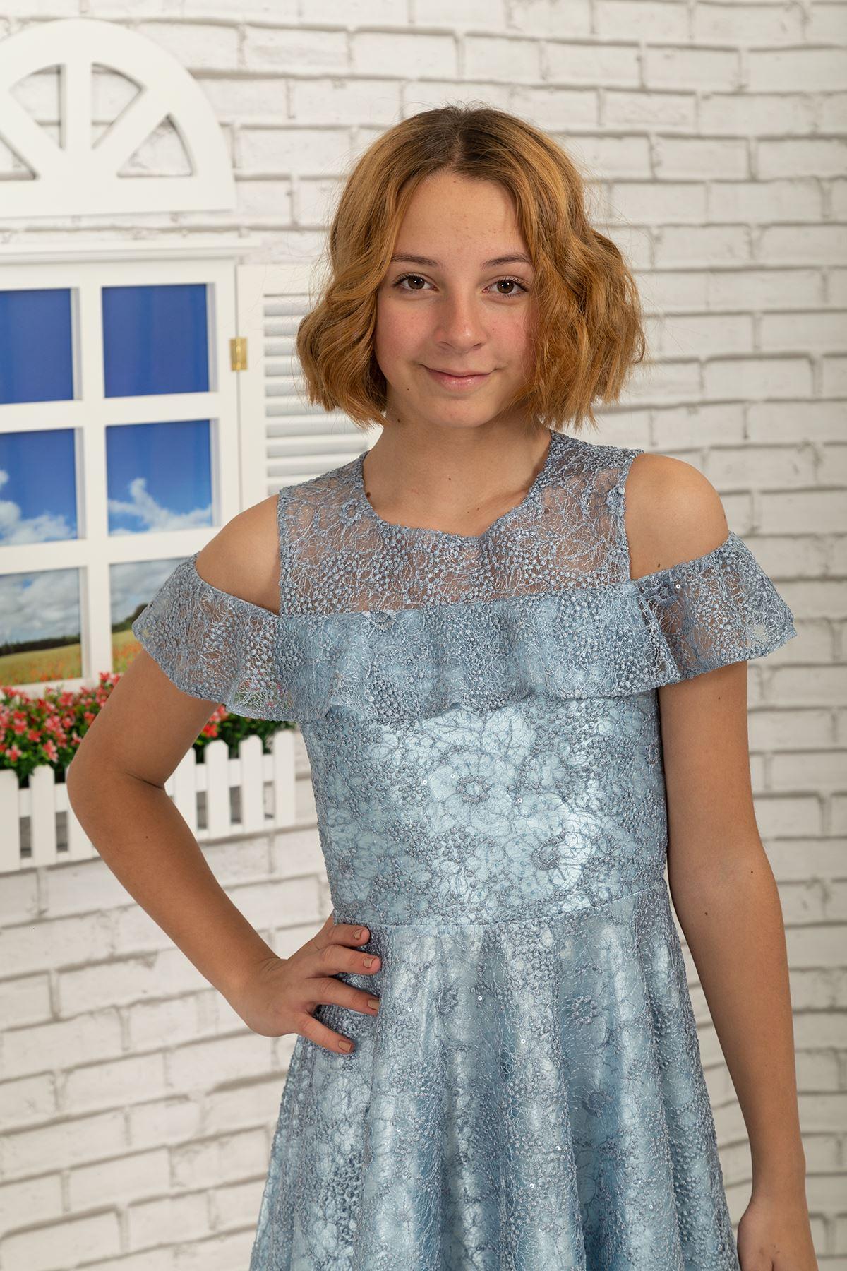 Shoulder Detail, Lace Short Girls Evening Dress 495 Indigo