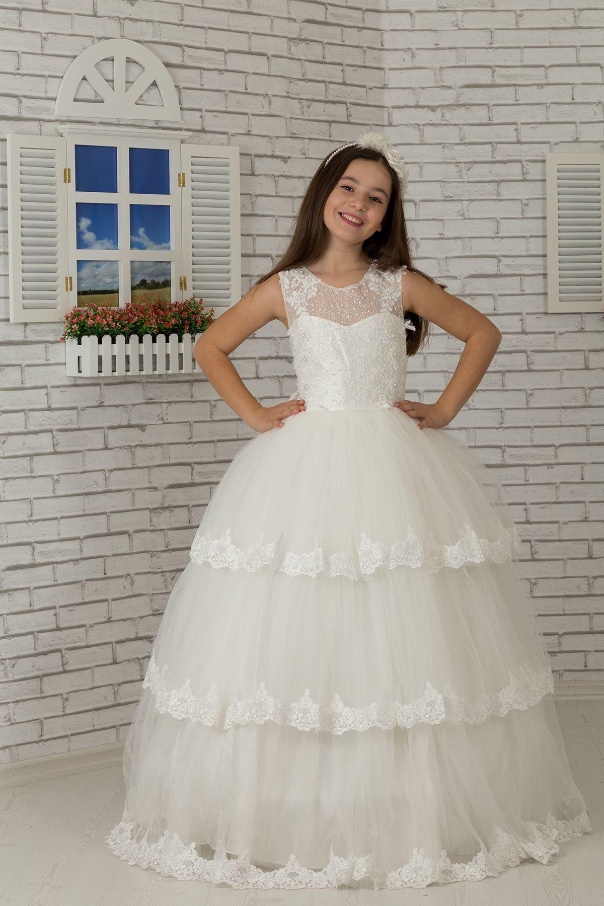 Дантела бродирано тяло, многослойна пола апликация, тюл пухкава вечерна рокля момиче 608 крем