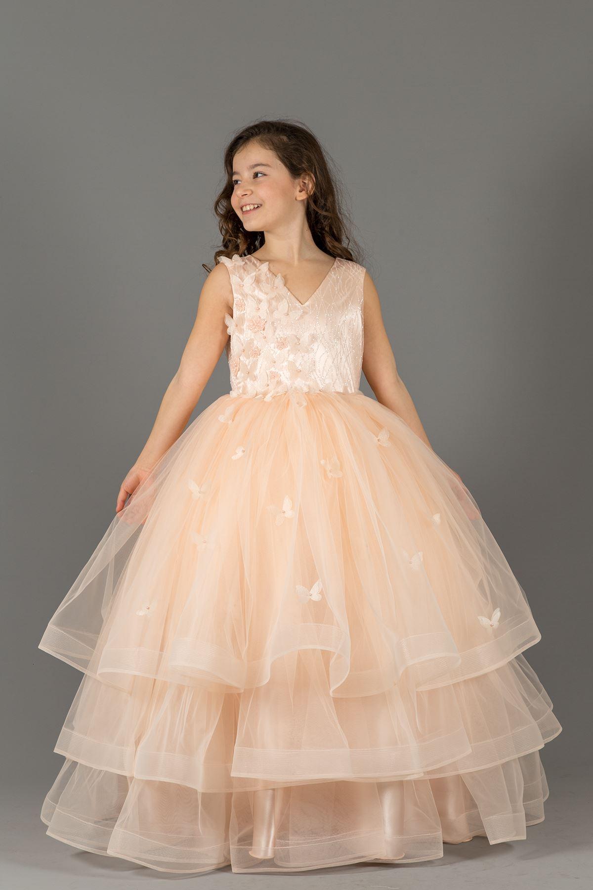 Пухкава вечерна рокля момиче 586 сьомга с многослойна пола подробно, 3-измерно цвете, сребристо тяло детайл