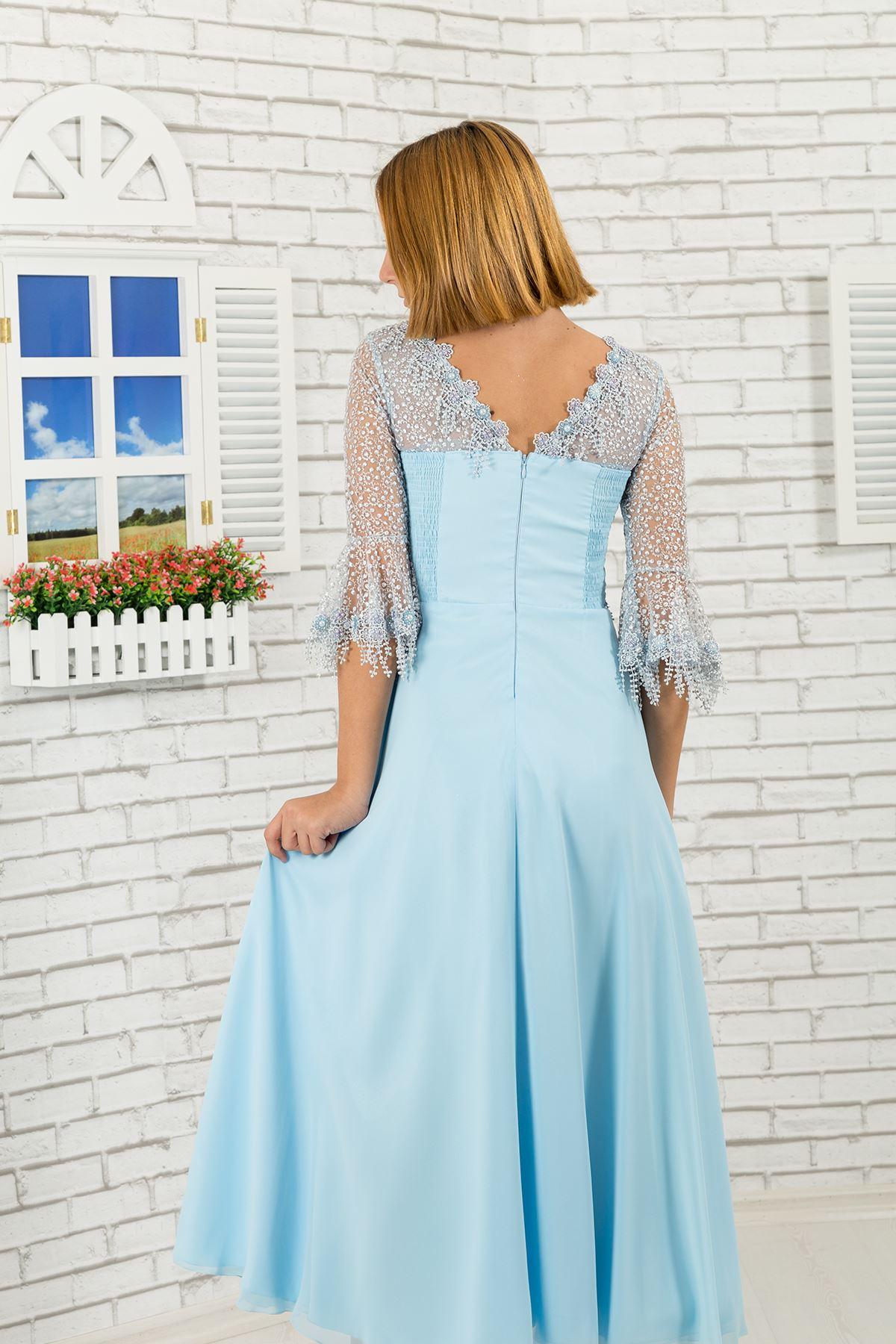 Мереживний рукав докладно, шифон дівчина вечірня сукня 464 світло-синій