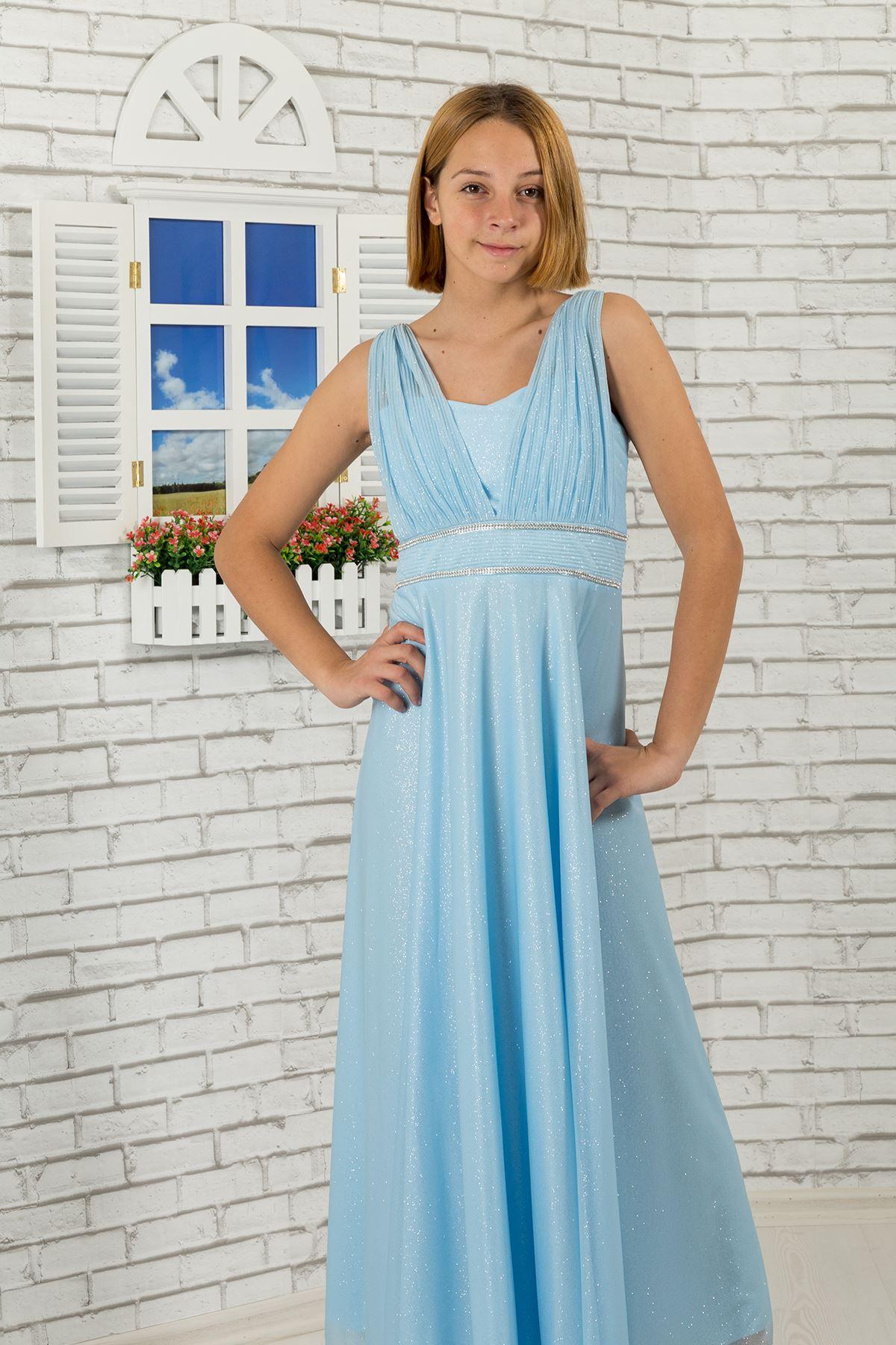 腰石,衣领细节,银色雪纺女孩儿童晚礼服473婴儿蓝色