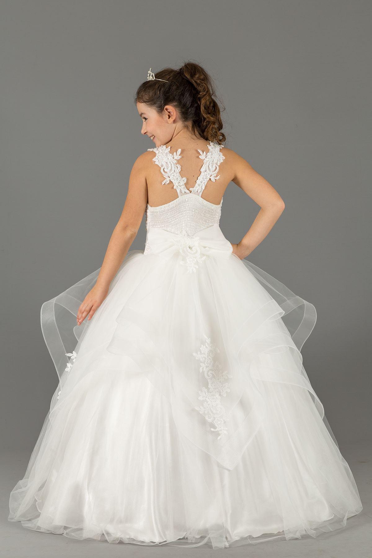 Пухкава вечерна рокля момиче с многослойни детайли пола и бродирани апликации 578 крем