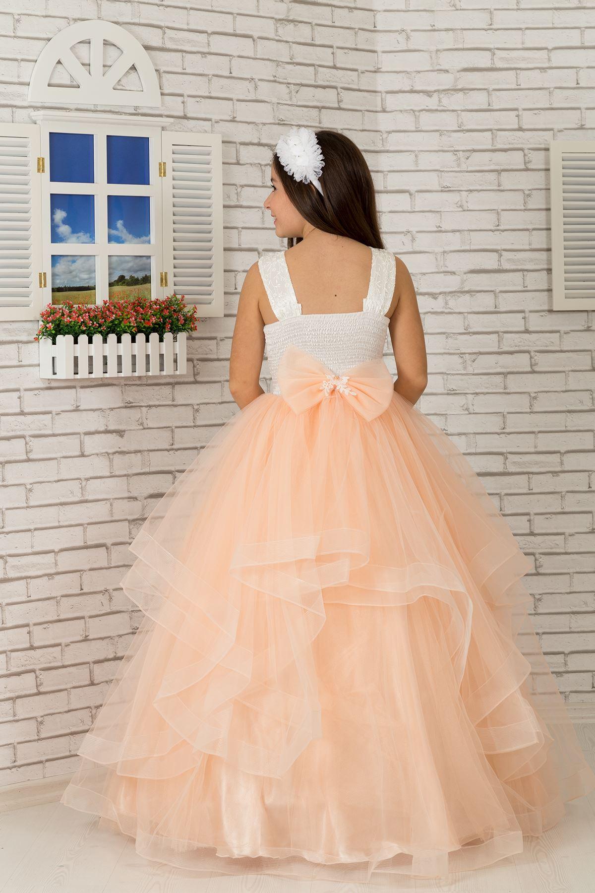 刺繍アップリケ、腰の花の詳細、チュールふわふわ女の子のイブニングドレス607サーモン