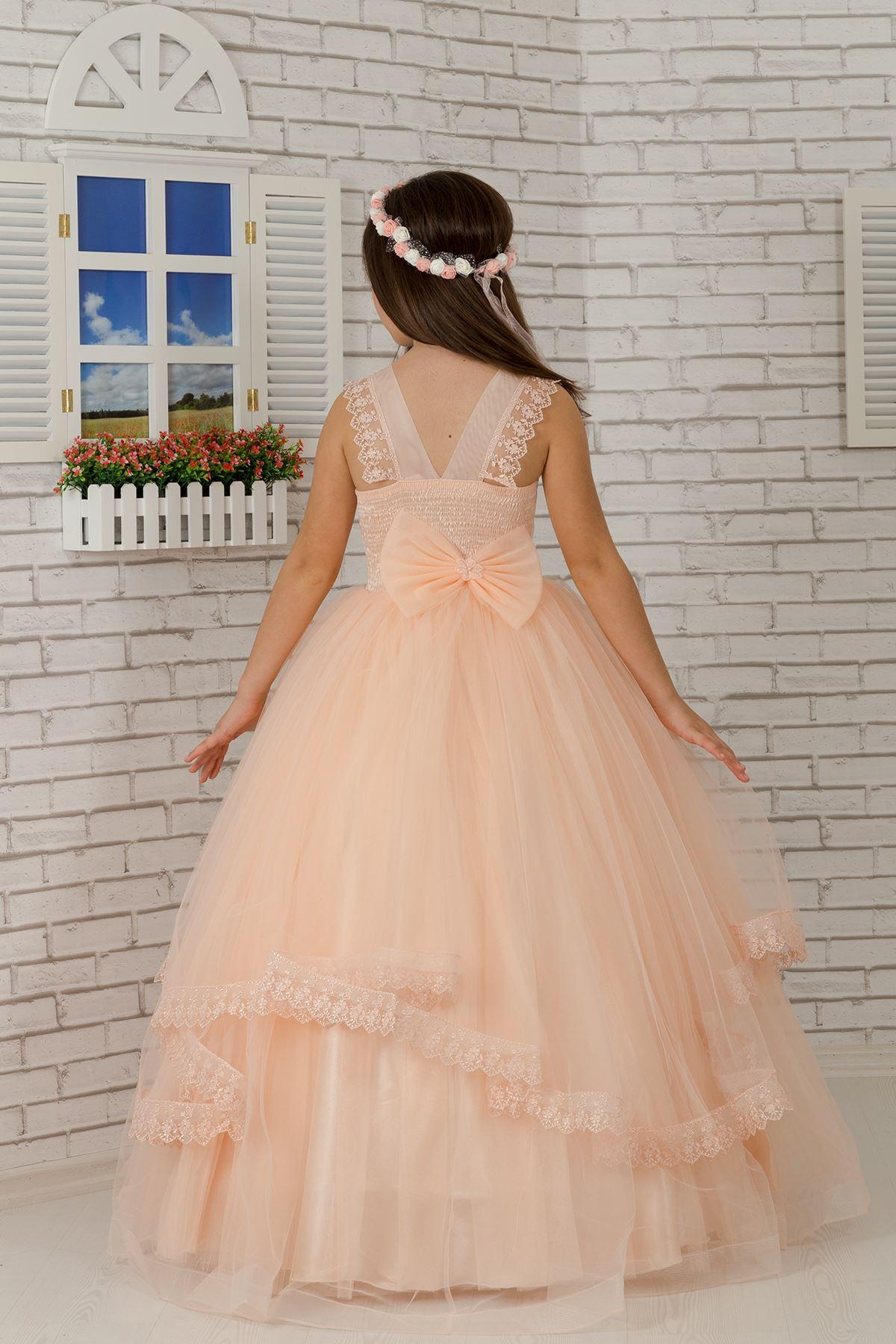 肩、体を刺繍しました、チュールふんわり女の子の夜はドレスドレスサーモン601
