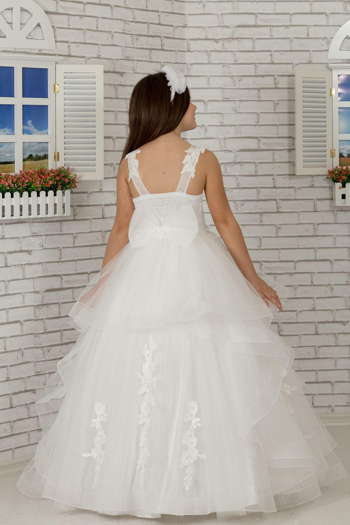 刺繍アップリケの詳細、チュールふわふわ少女のイブニングドレス628クリーム