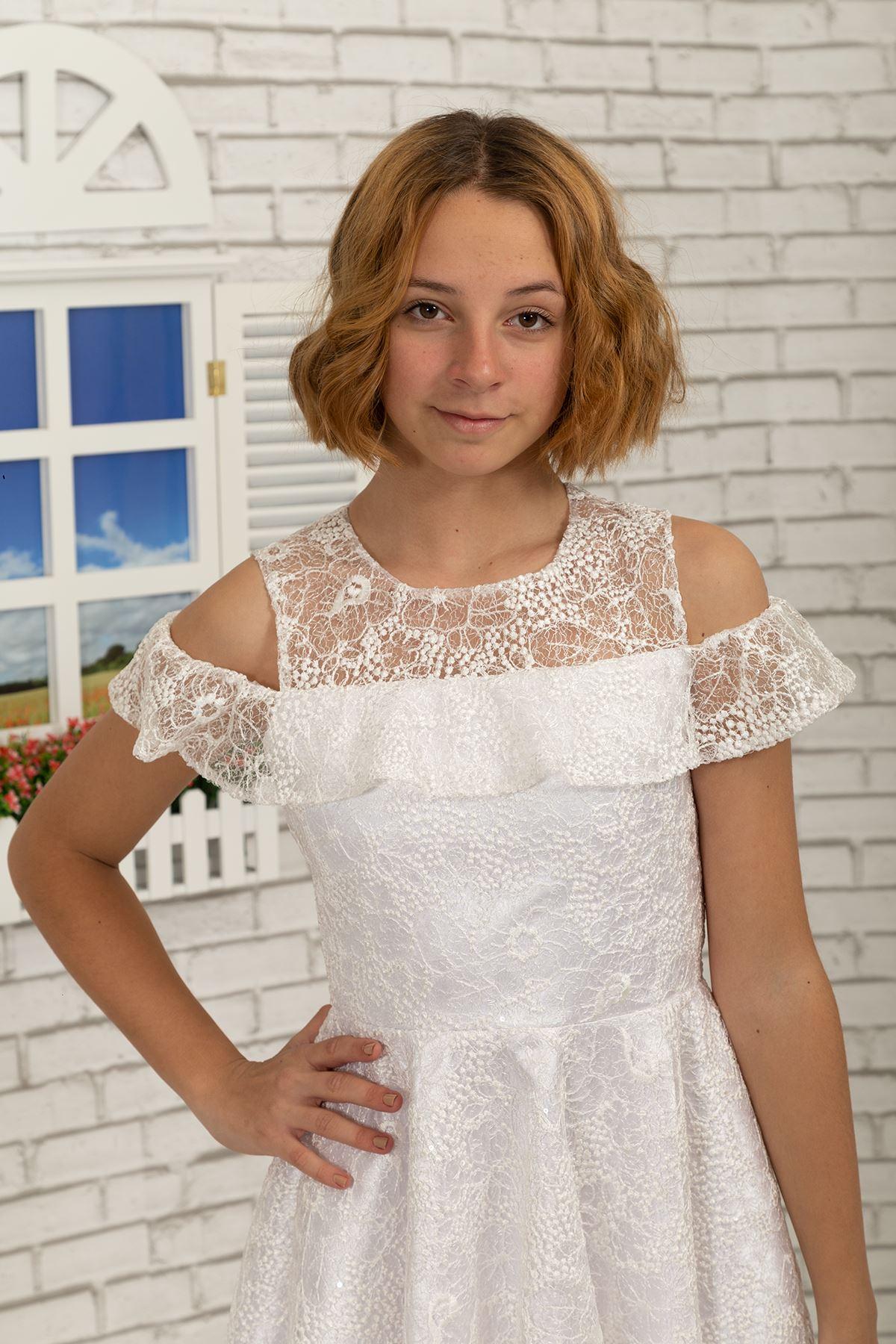 Shoulder Detail, Lace Short Girl Evening Dress 495 Ivory