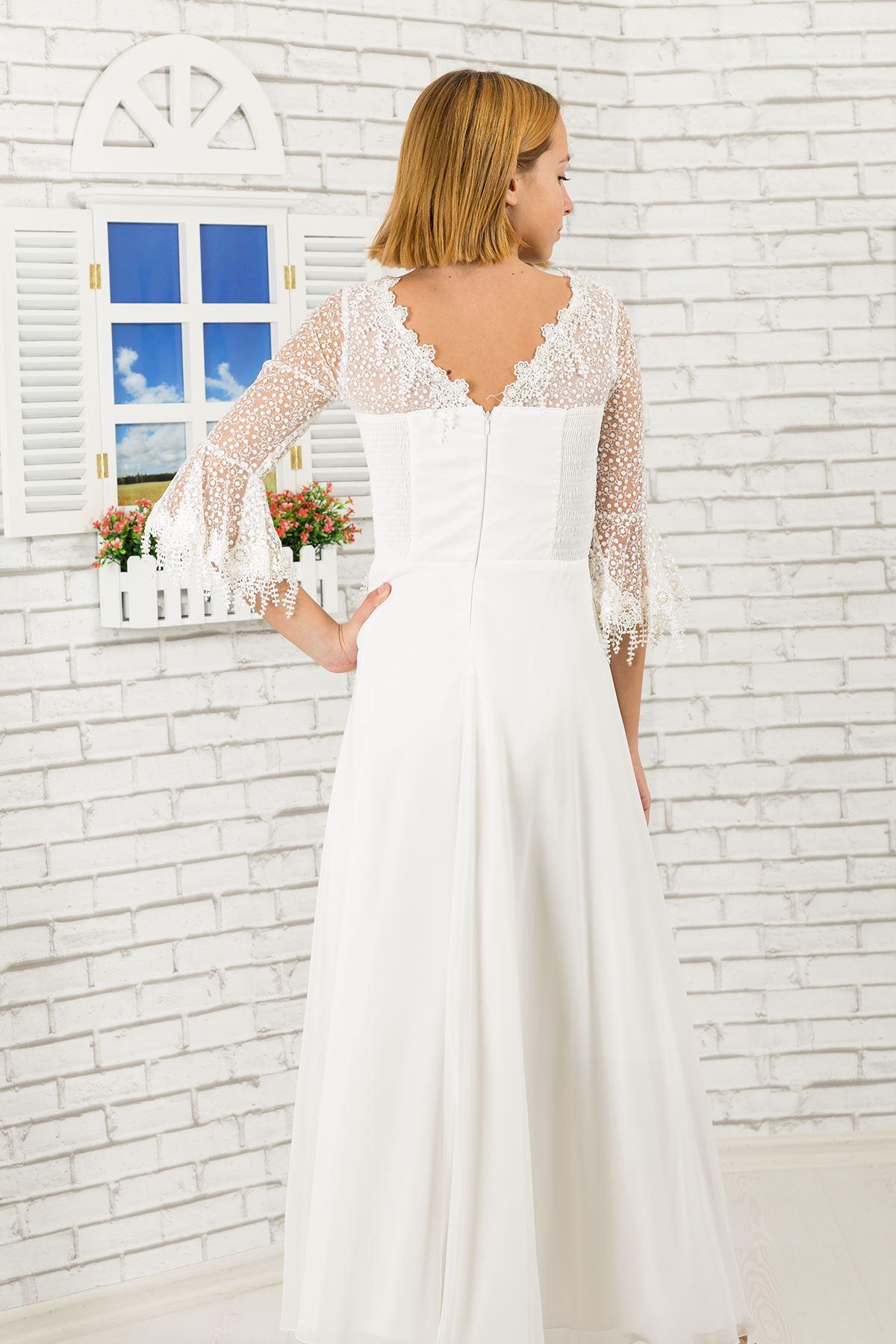 Lace Sleeve Detail, Chiffon Girl Evening Dress 464 Ivory