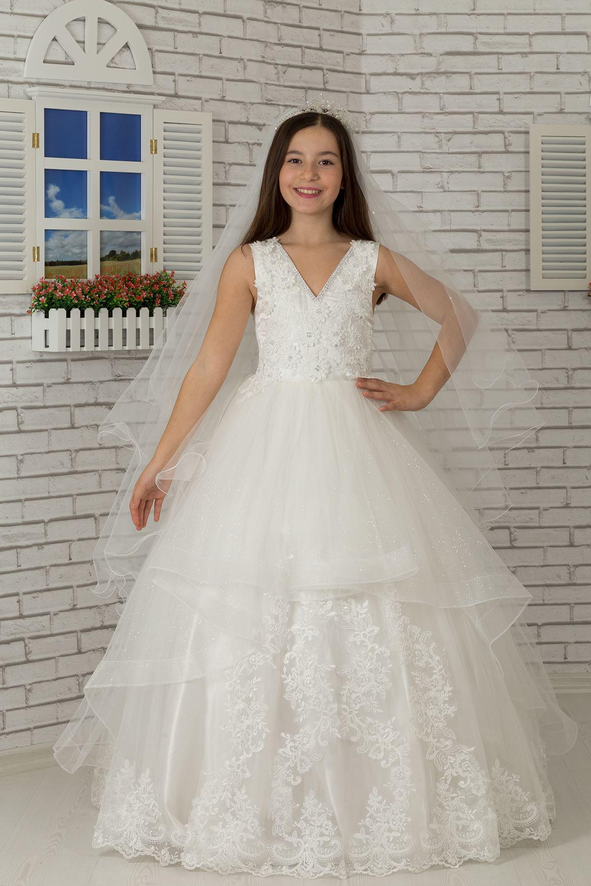 Embroidered appliqué, v-neck, tulle Fluffy Girl's Evening Dress 606 Cream