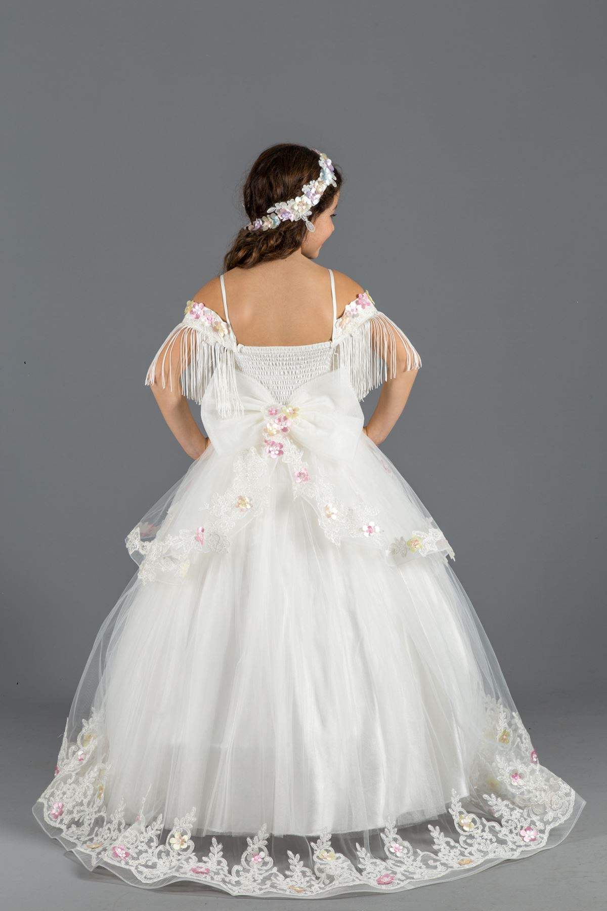 Пышное вечернее платье для девочек с отделкой на плечах, цветы 3 размера, кремовый тюль 564