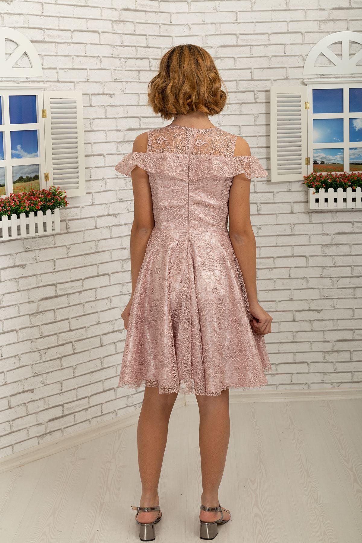 Детайл на рамото, дантелена Къса пола момиче вечерна рокля 495 прах