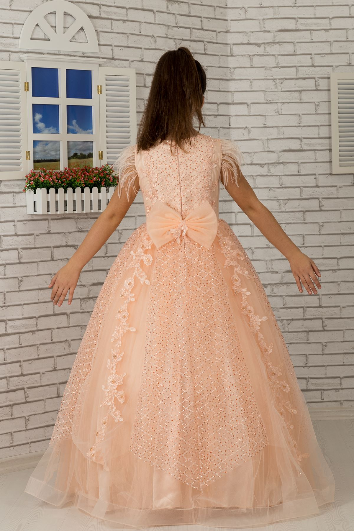 Fluffy Girl's Evening Dress 603 Salmon with shoulder feather detail, appliqué, silvery tulle
