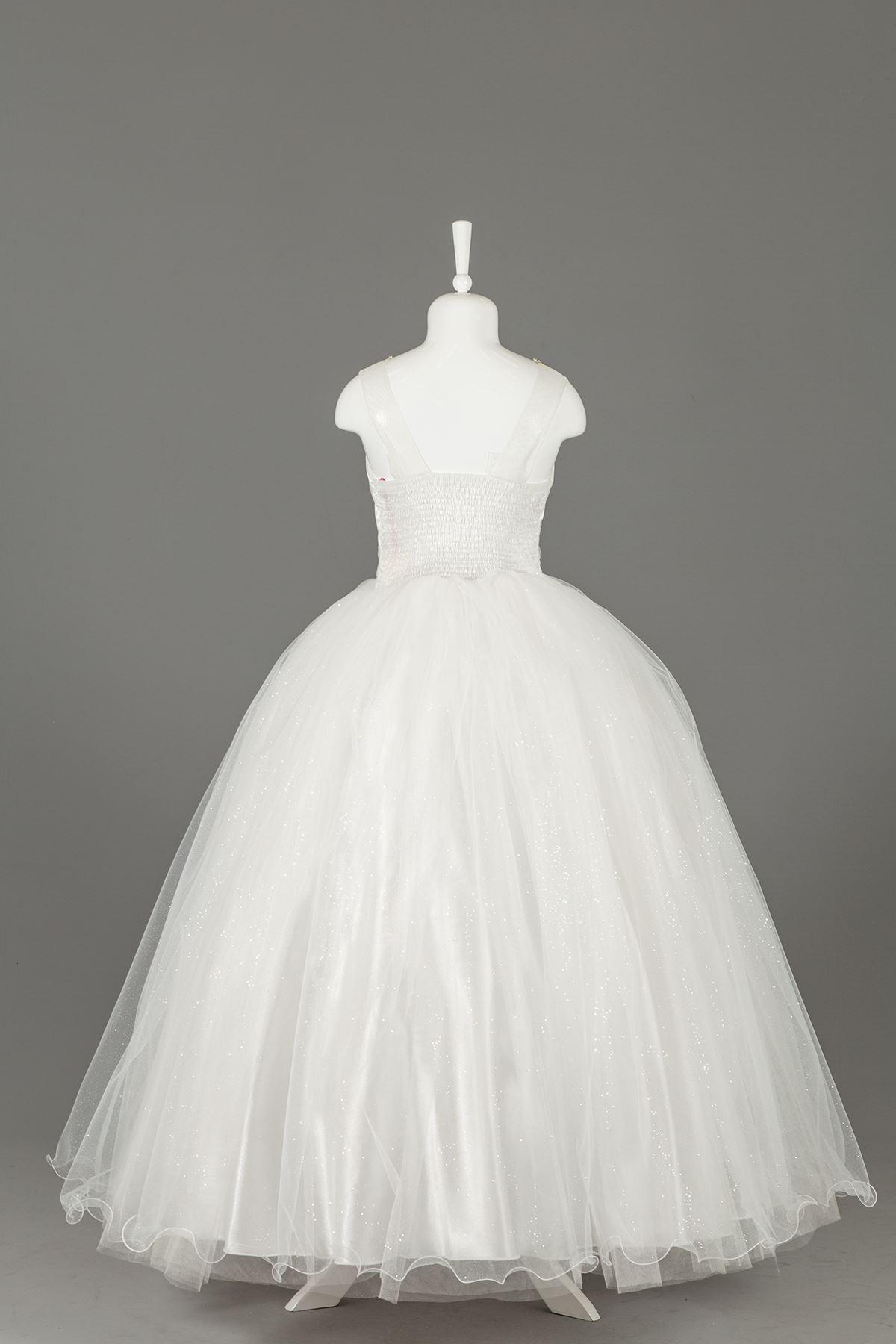 Каменна детайлна пухкава пухкава момиче вечерна рокля 592 крем