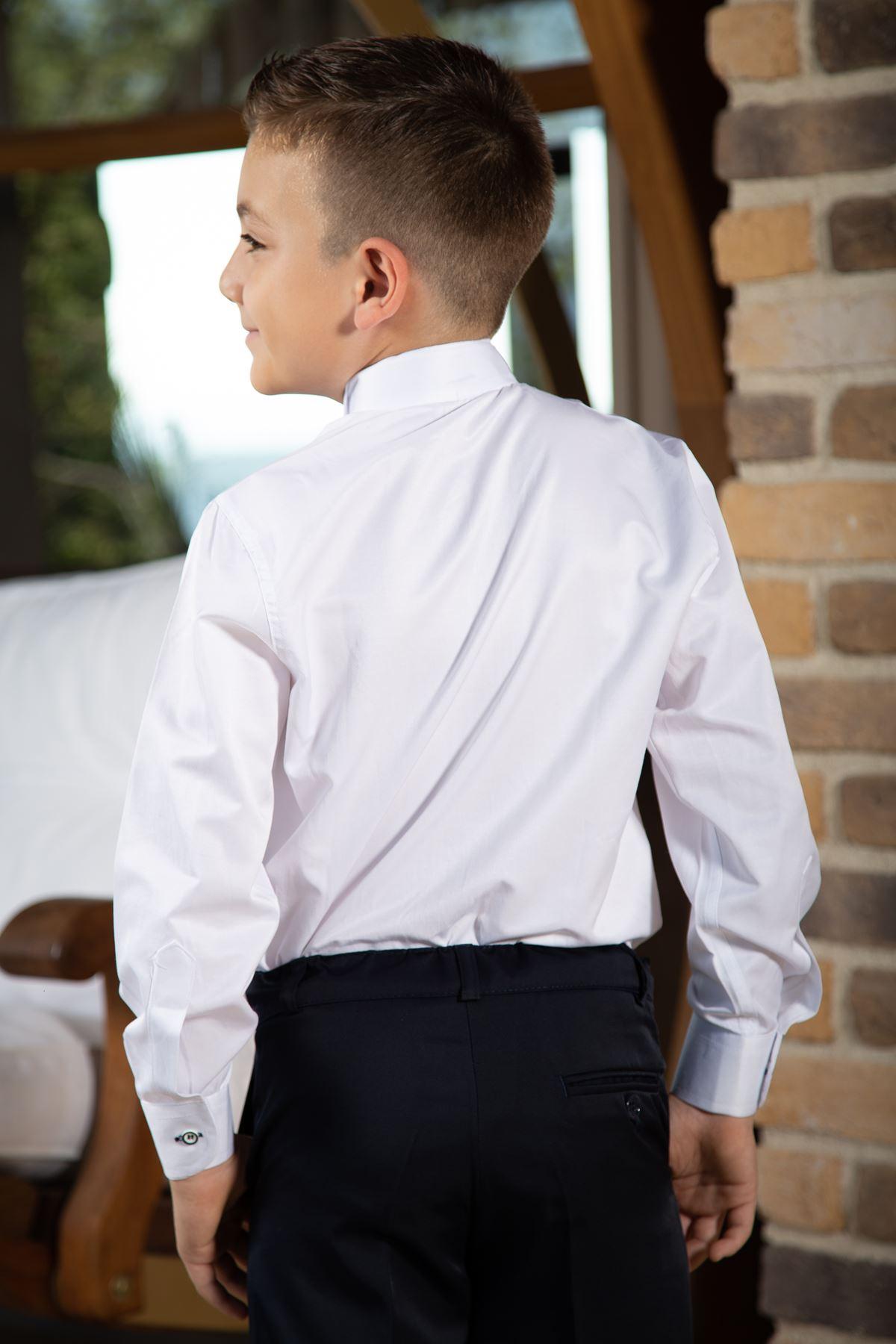 Κολάρο αλόγου, διπλή γραβάτα ναυτικού, λεπτομέρεια κεντήματος, πουκάμισο αγοριών 1006 Λευκό