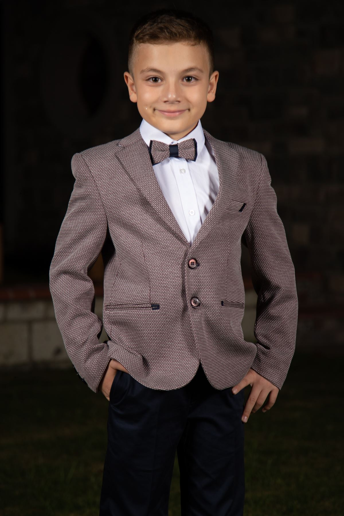 Knitted Fabric, Peto pocket and double fillet detail, mono collar, 3-piece set Boy Suit 138 Claret red