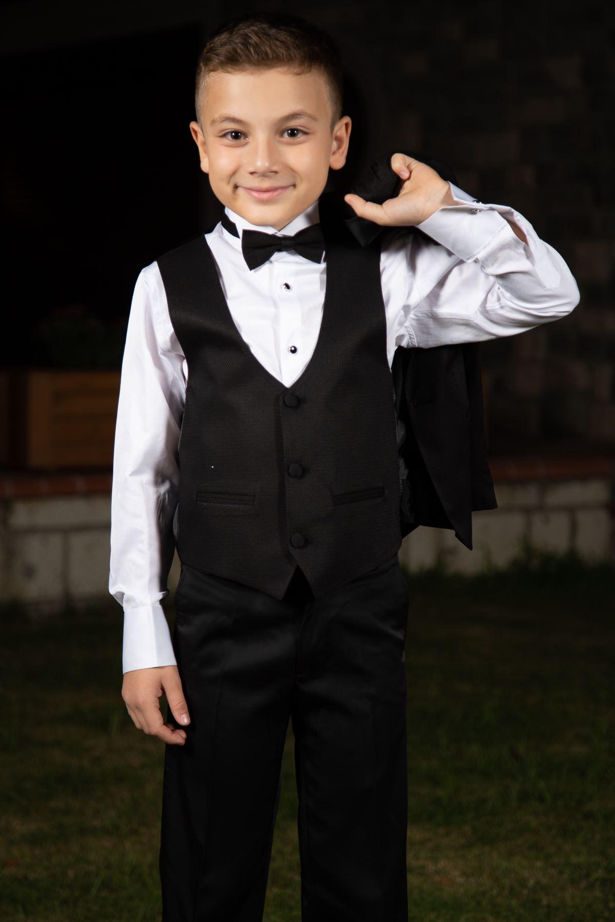 Plástový vzor, Šálový límec, kompletní sada 4 kusy chlapecký speciální oblek 188 Černá