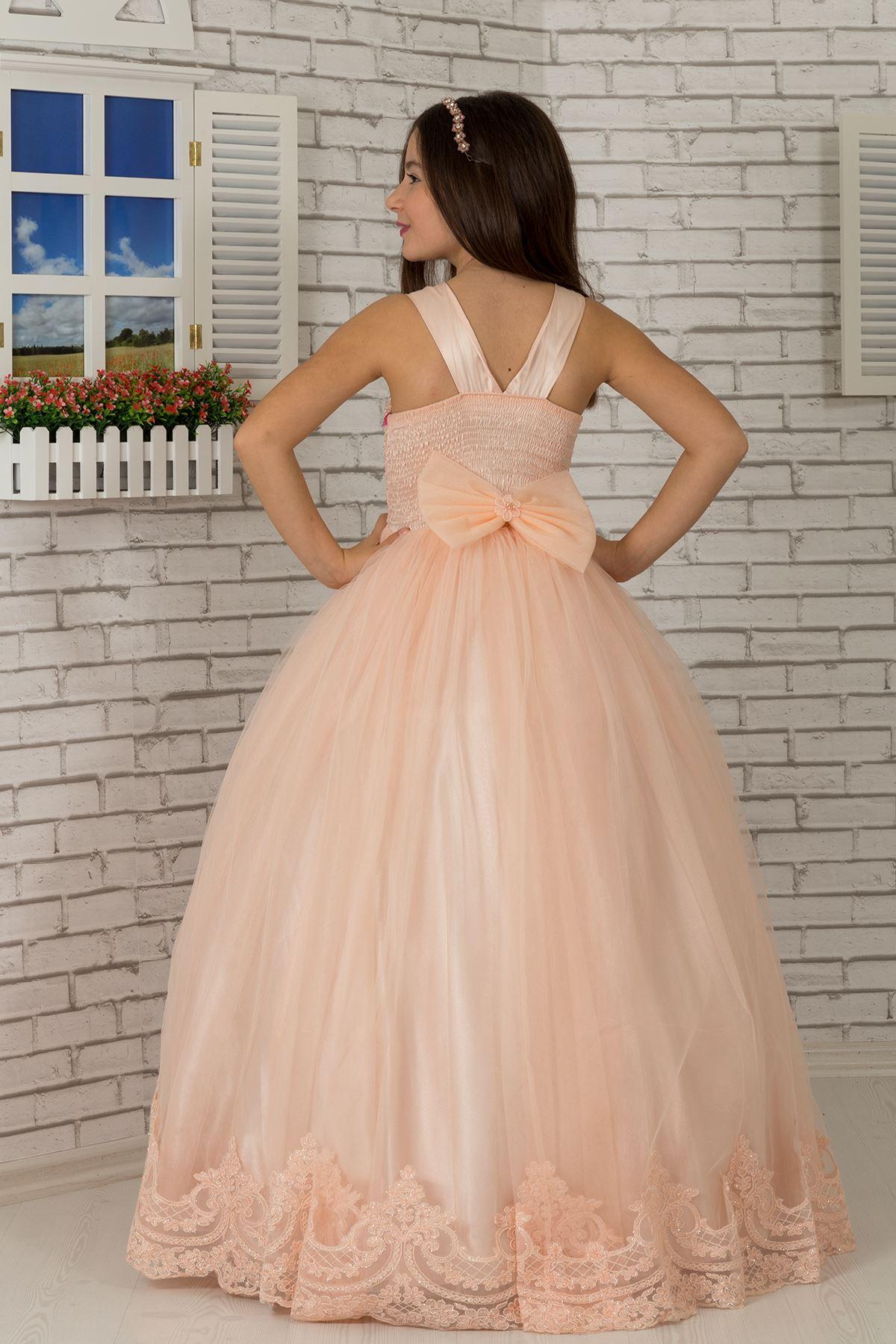 Специално тяло с пайети, бродирана апликация, детайлна подгъваща вечерна рокля на пухкаво момиче 600 сьомга