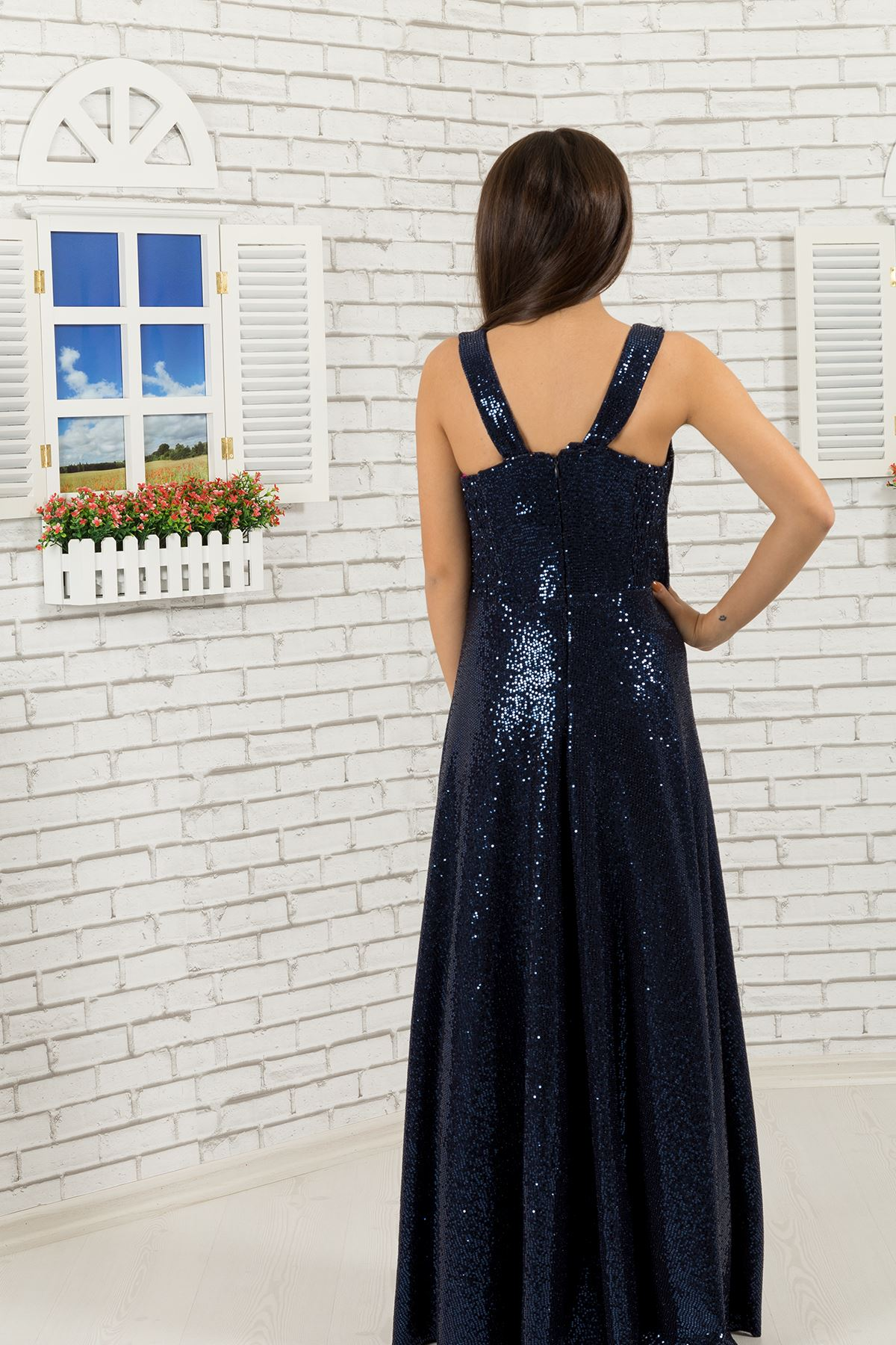 Блестки ткань девушка вечернее платье 477 темно-синий