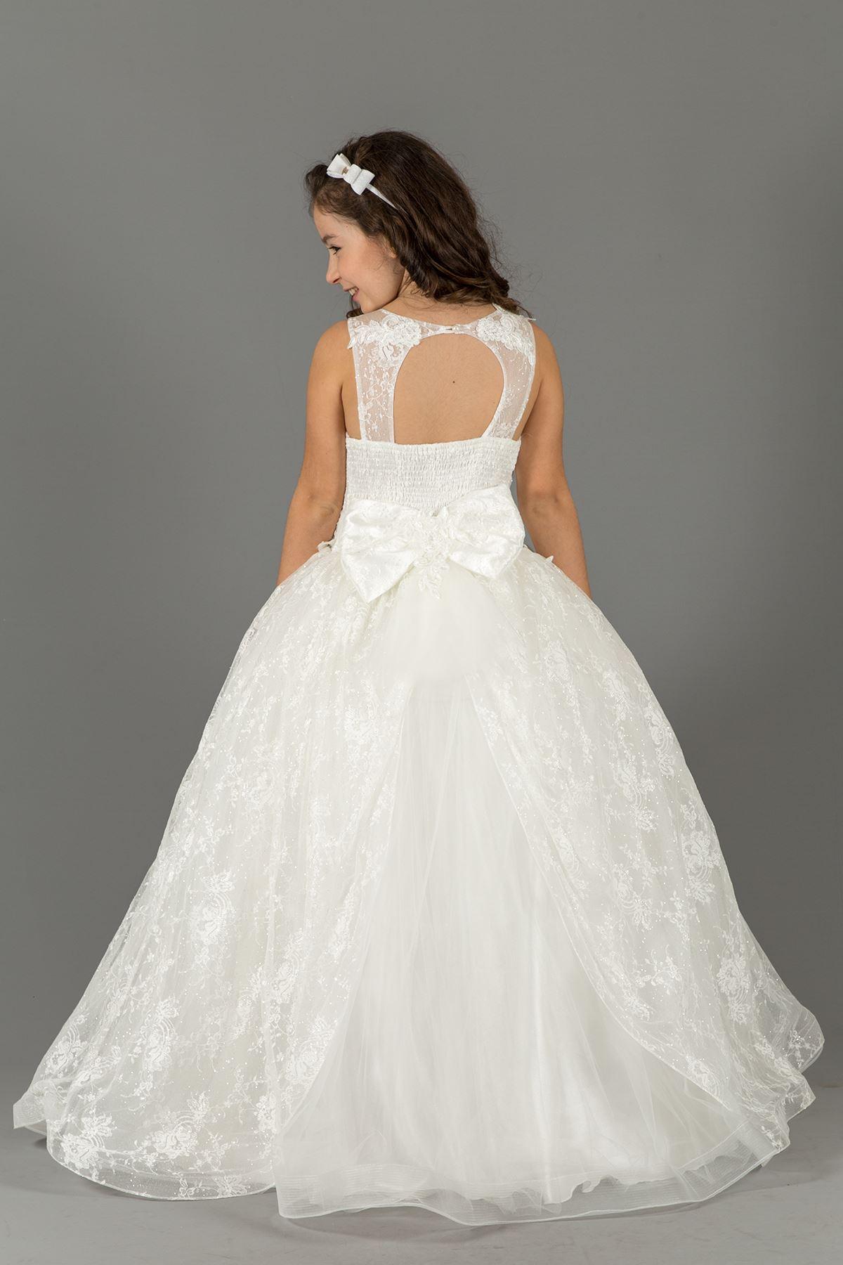 Ασημένια γεμάτη δαντέλα, επένδυση Φόρεμα βραδινό φόρεμα Fluffy Girl 572