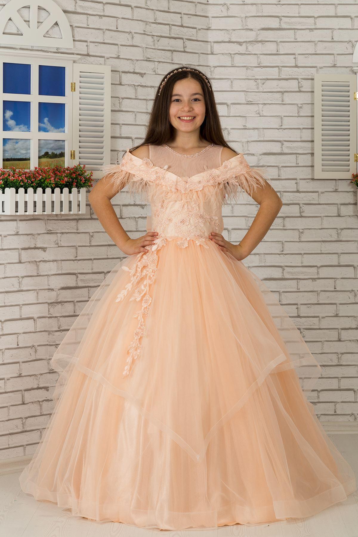 シャギーカヤックネックライン、ディテールにこだわった、チュールのふわふわの女の子のイブニングドレスドレス604サーモン