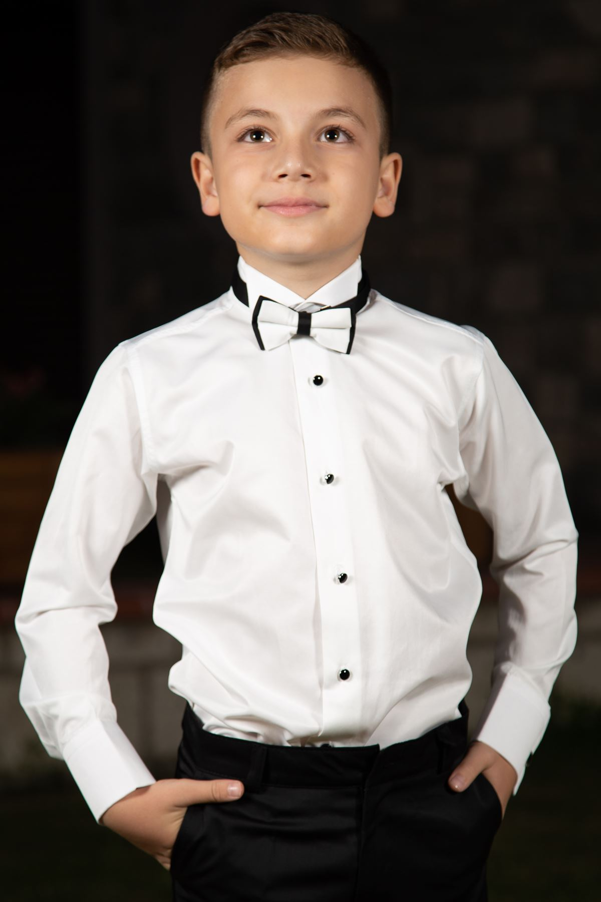 Horseshoe collar, black cufflinks, Boys ' shirt 1003 cream